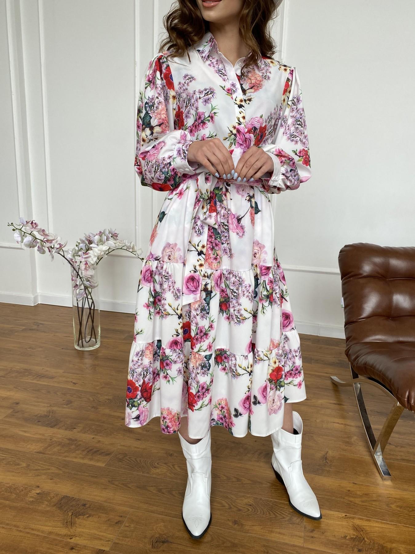 Лилия платье  софт принт бистрейч 11171 АРТ. 47709 Цвет: ВесенБукетМол/Роз/Крас - фото 8, интернет магазин tm-modus.ru