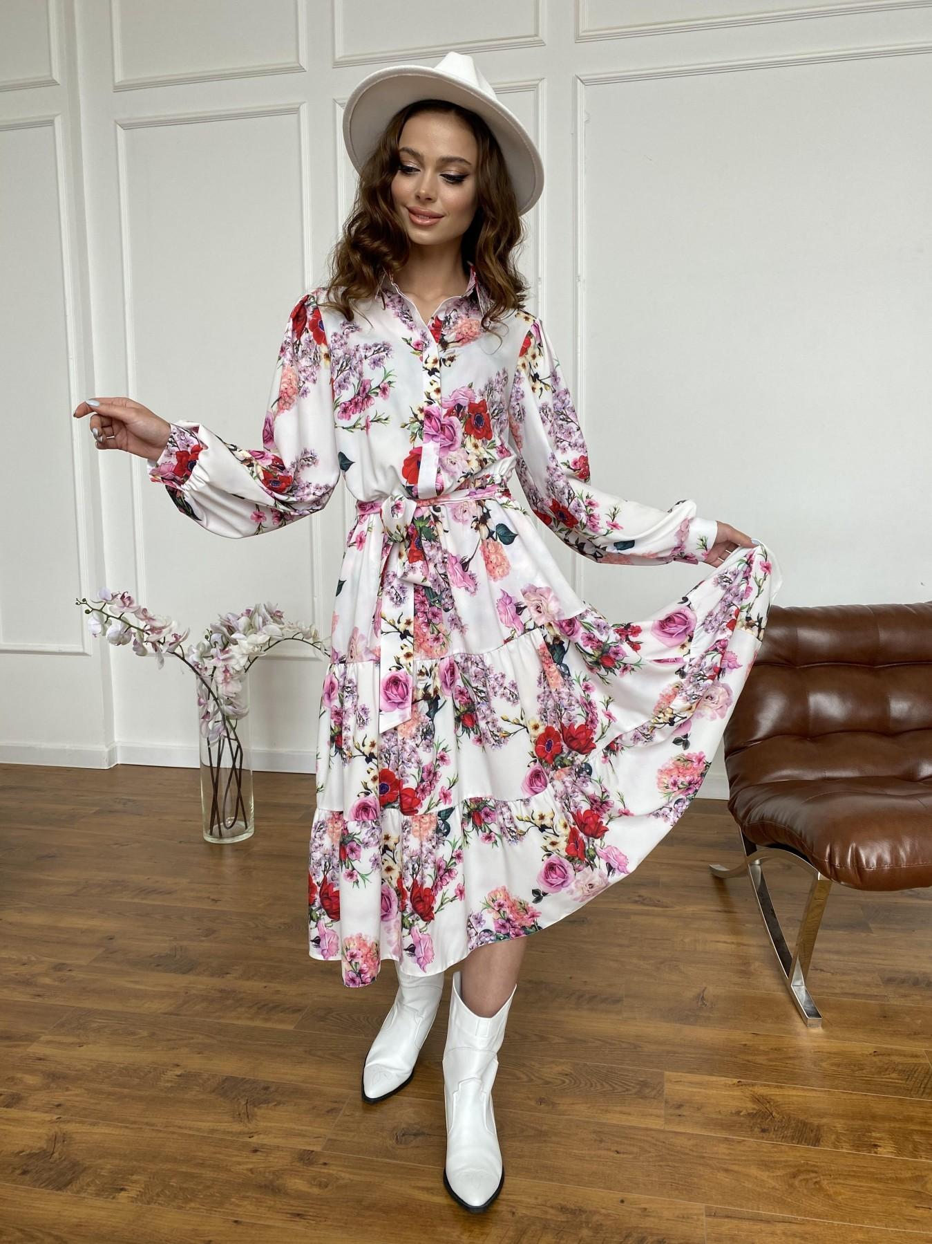 Лилия платье  софт принт бистрейч 11171 АРТ. 47709 Цвет: ВесенБукетМол/Роз/Крас - фото 9, интернет магазин tm-modus.ru