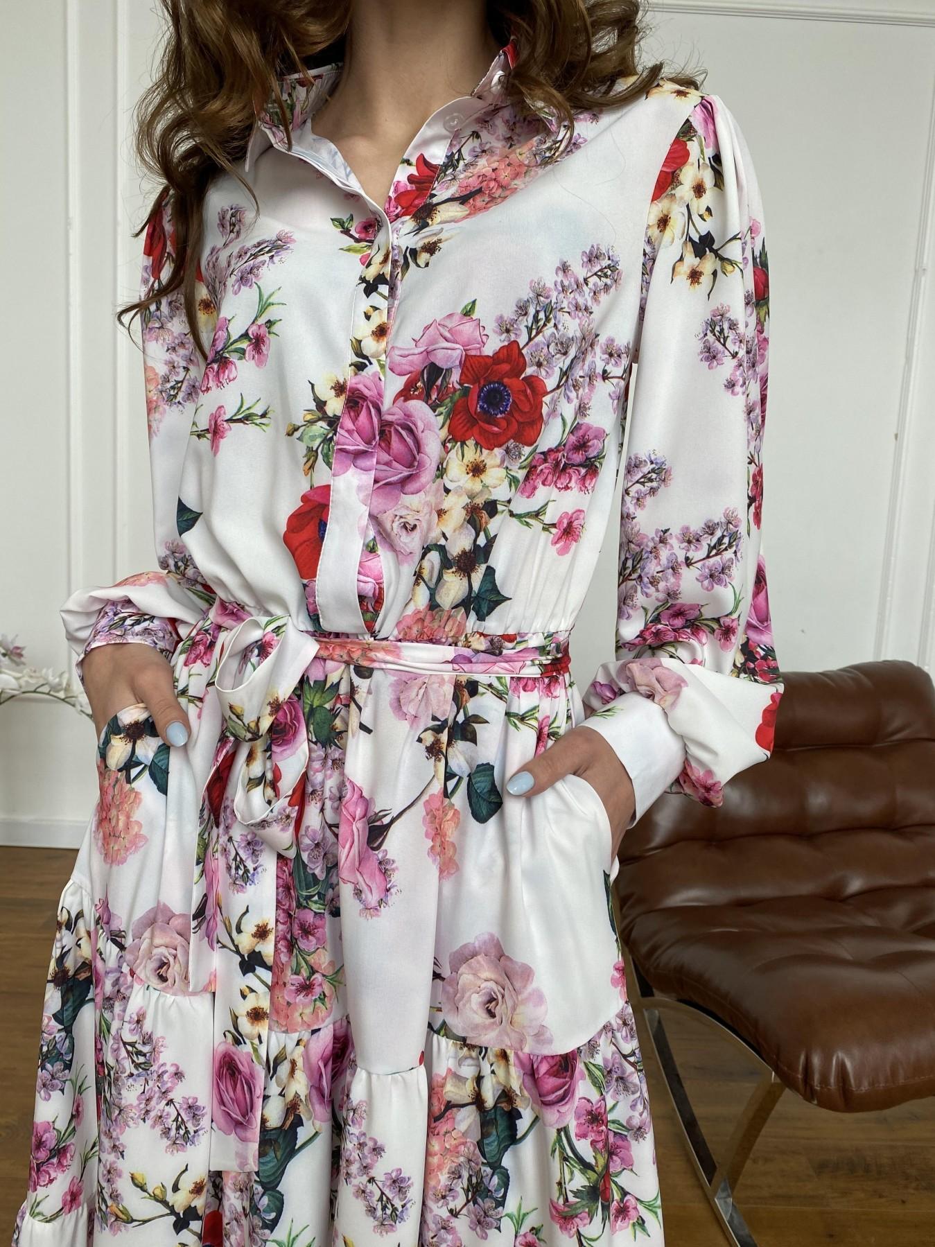 Лилия платье  софт принт бистрейч 11171 АРТ. 47709 Цвет: ВесенБукетМол/Роз/Крас - фото 10, интернет магазин tm-modus.ru