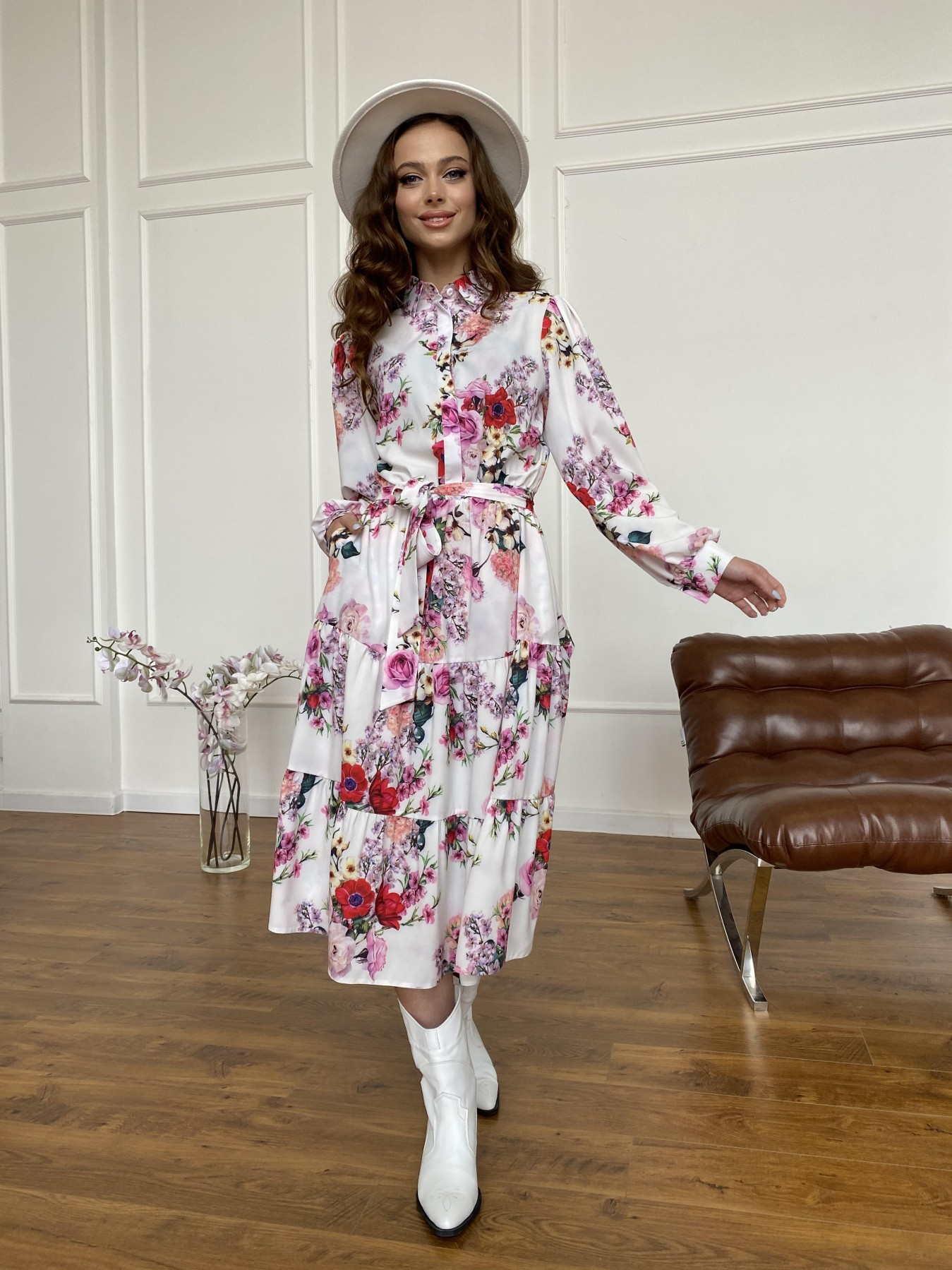 Лилия платье  софт принт бистрейч 11171 АРТ. 47709 Цвет: ВесенБукетМол/Роз/Крас - фото 11, интернет магазин tm-modus.ru