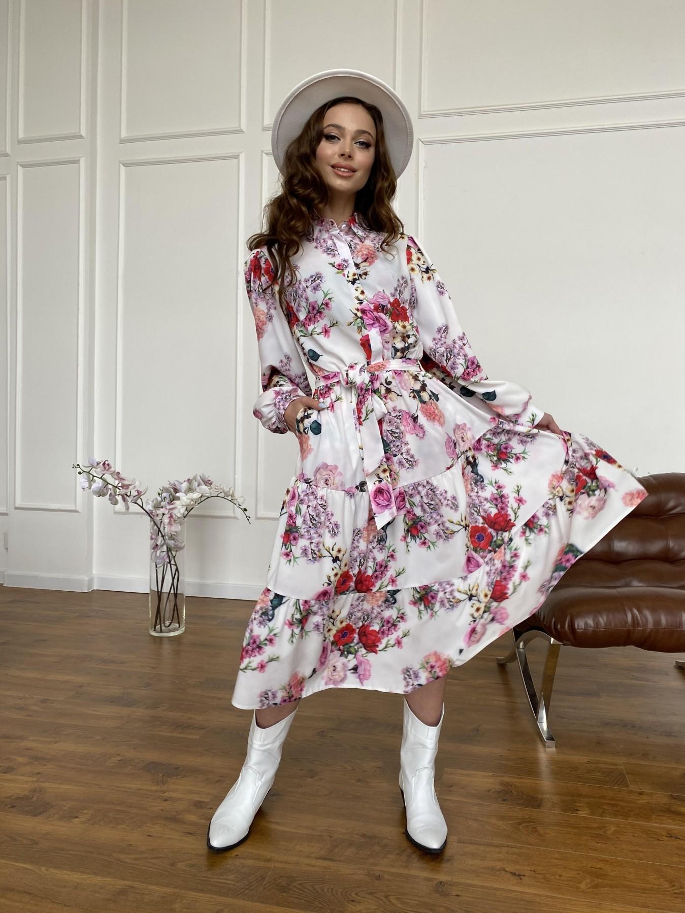 Лилия платье  софт принт бистрейч 11171 АРТ. 47709 Цвет: ВесенБукетМол/Роз/Крас - фото 12, интернет магазин tm-modus.ru
