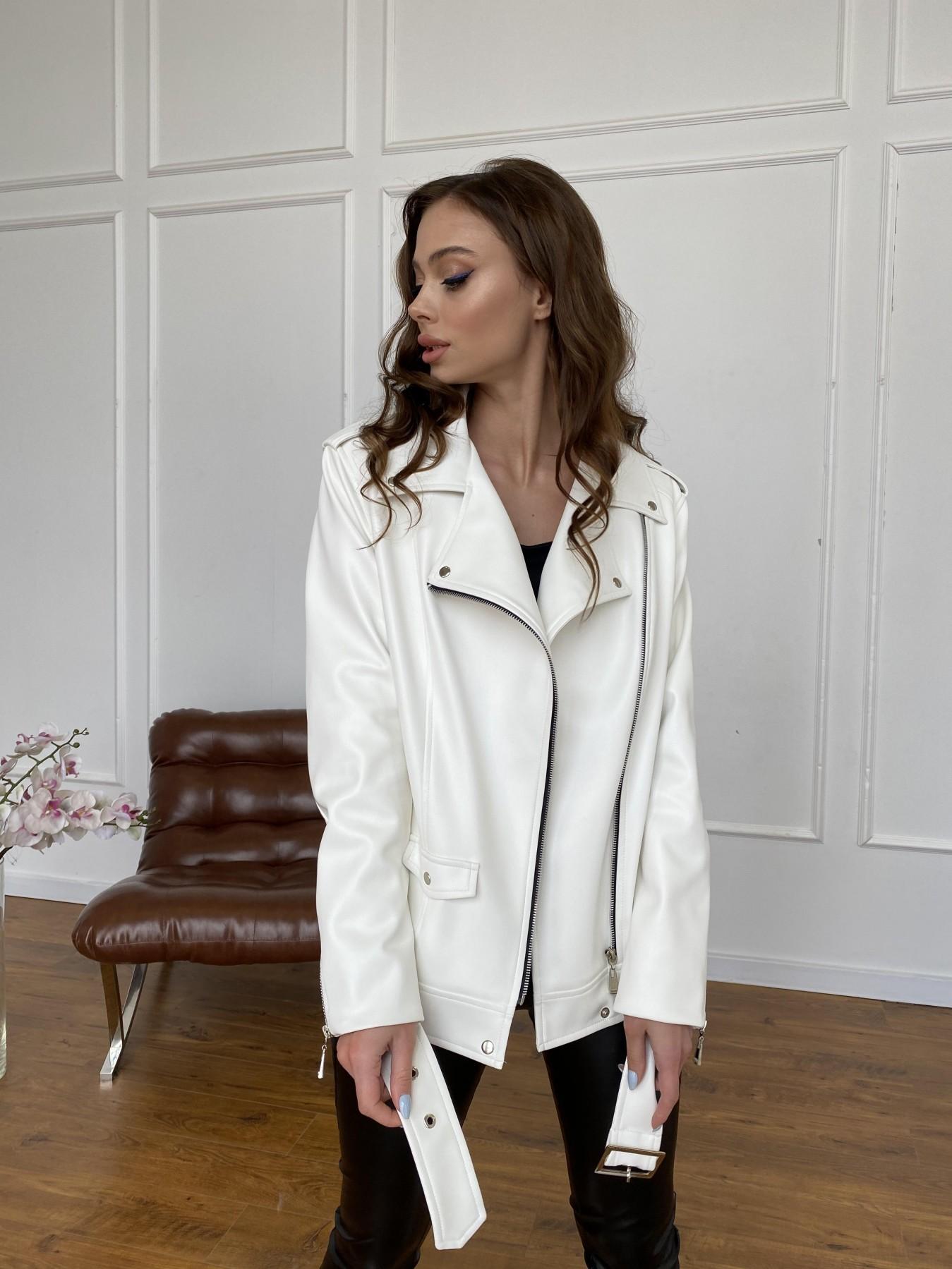 Босс куртка из экокожи прокатанной  11173 АРТ. 47683 Цвет: Молоко - фото 2, интернет магазин tm-modus.ru