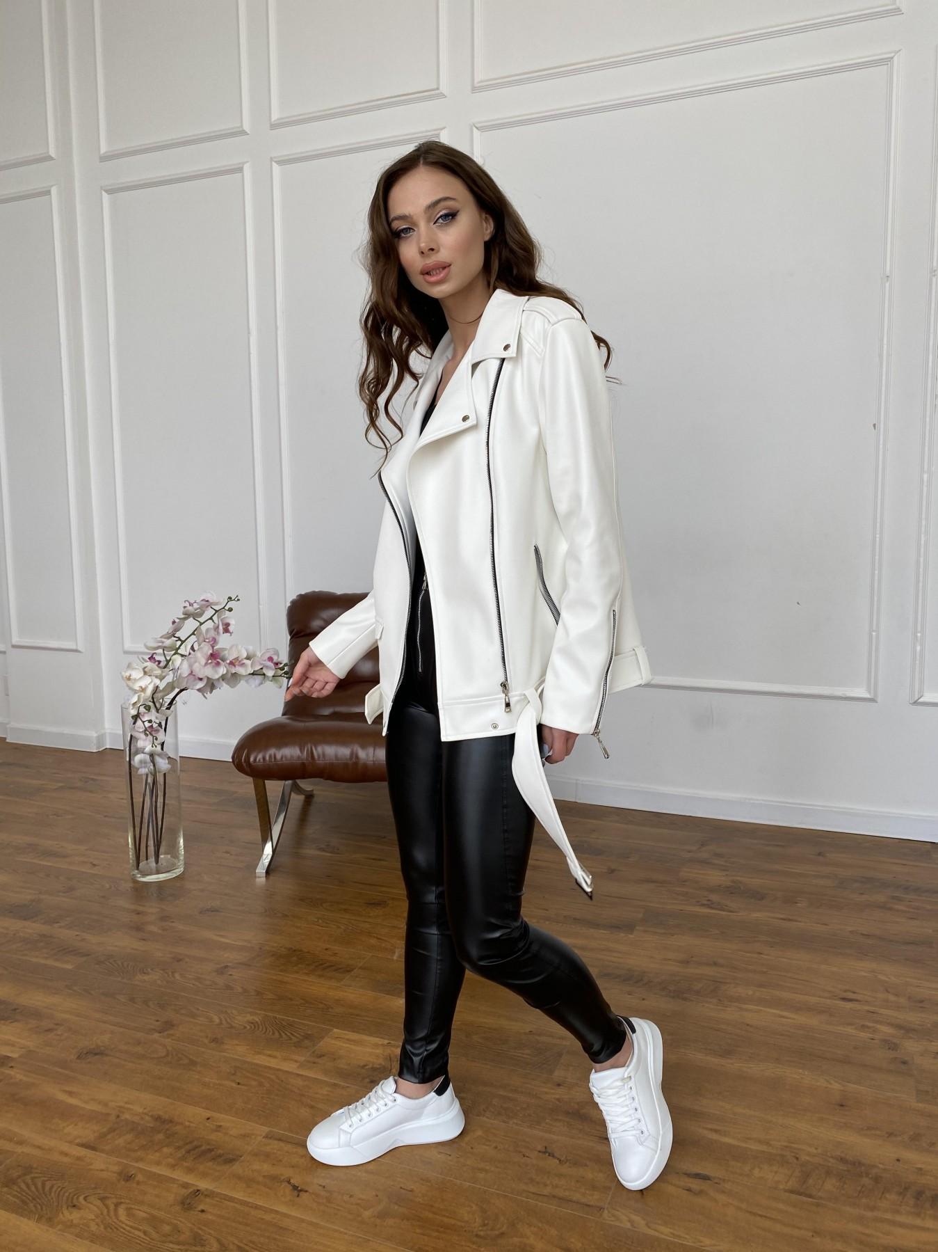Босс куртка из экокожи прокатанной  11173 АРТ. 47683 Цвет: Молоко - фото 3, интернет магазин tm-modus.ru
