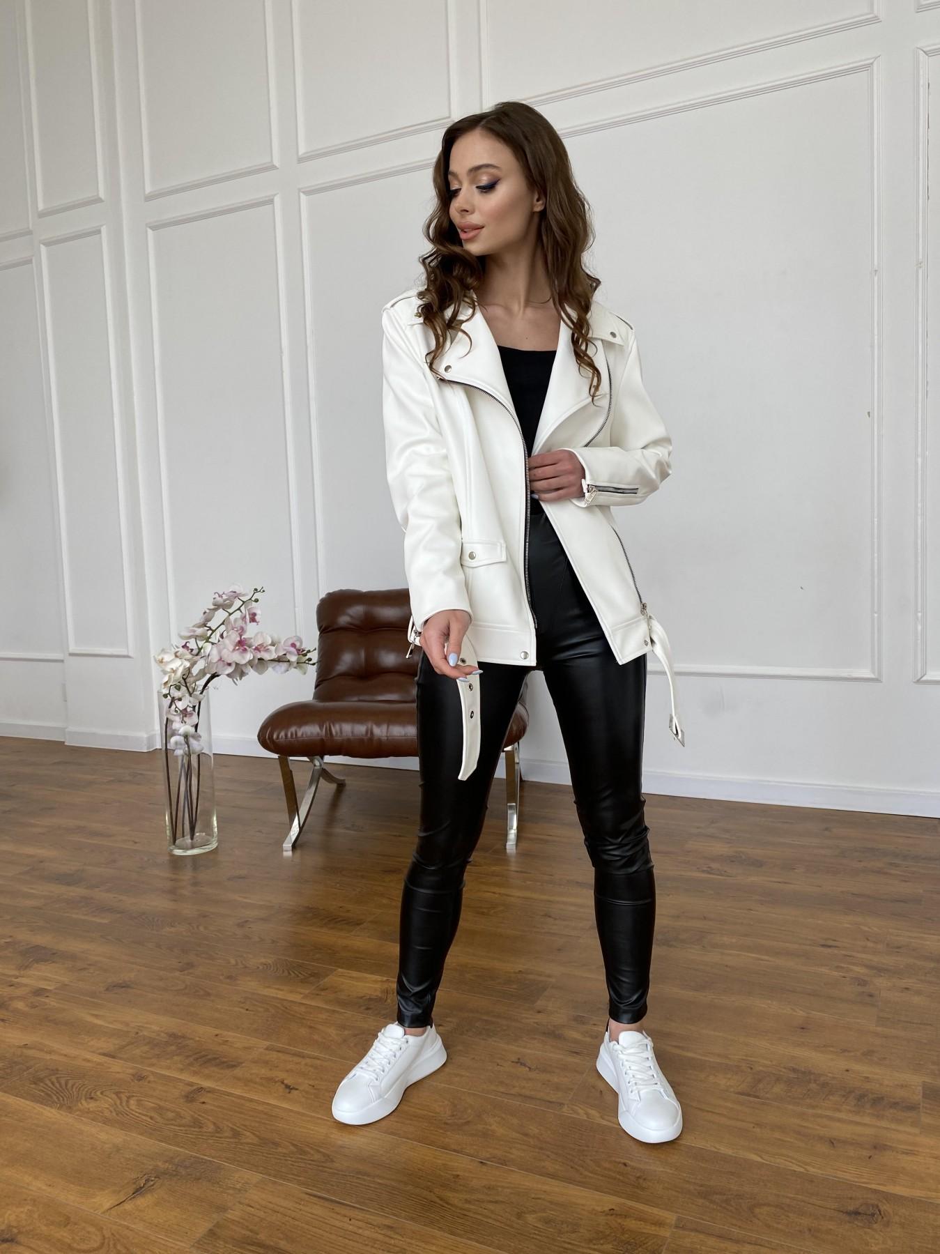 Босс куртка из экокожи прокатанной  11173 АРТ. 47683 Цвет: Молоко - фото 6, интернет магазин tm-modus.ru