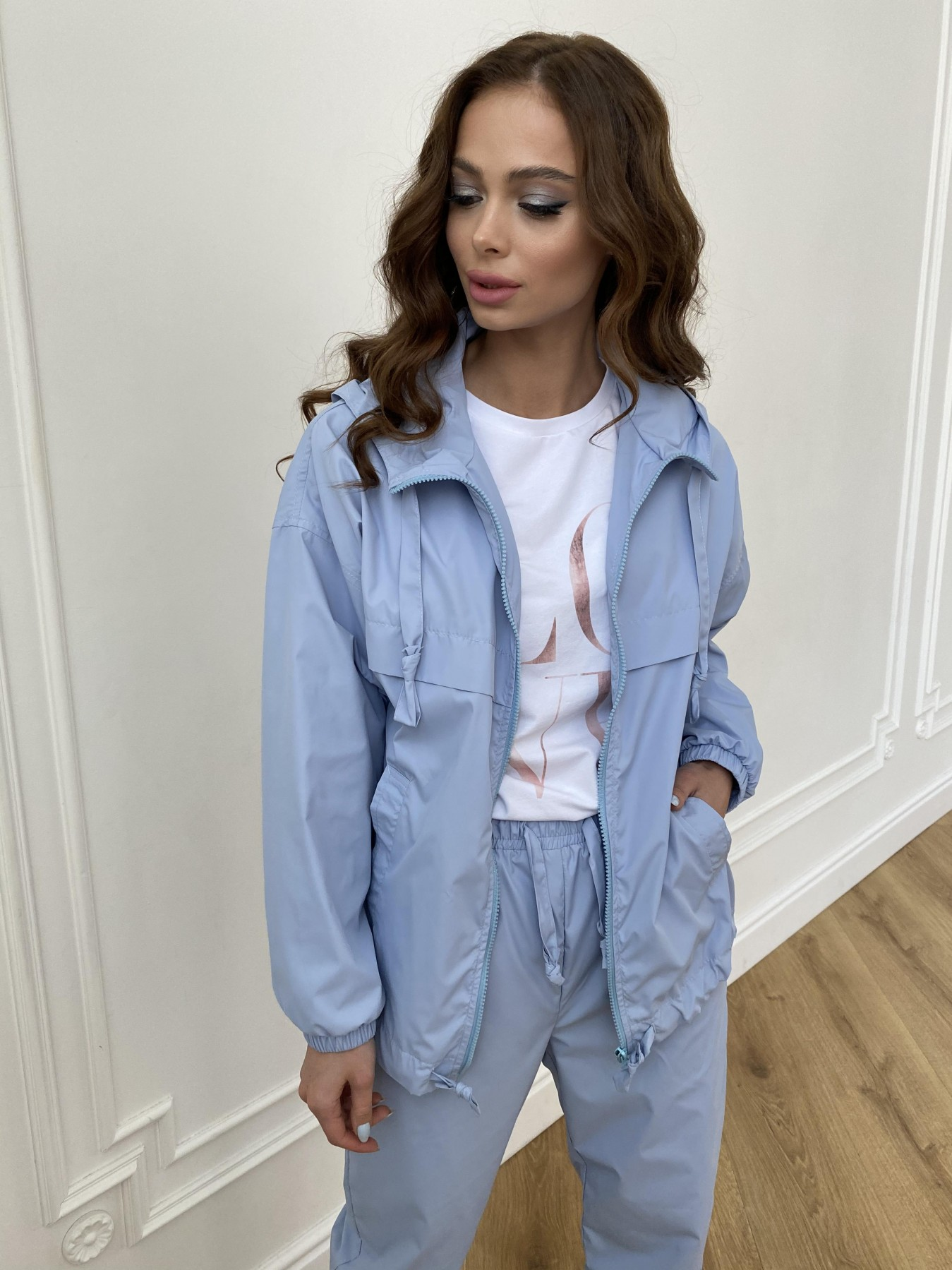 Фит куртка из плащевой ткани Ammy 11013 АРТ. 47712 Цвет: Голубой 1021 - фото 3, интернет магазин tm-modus.ru