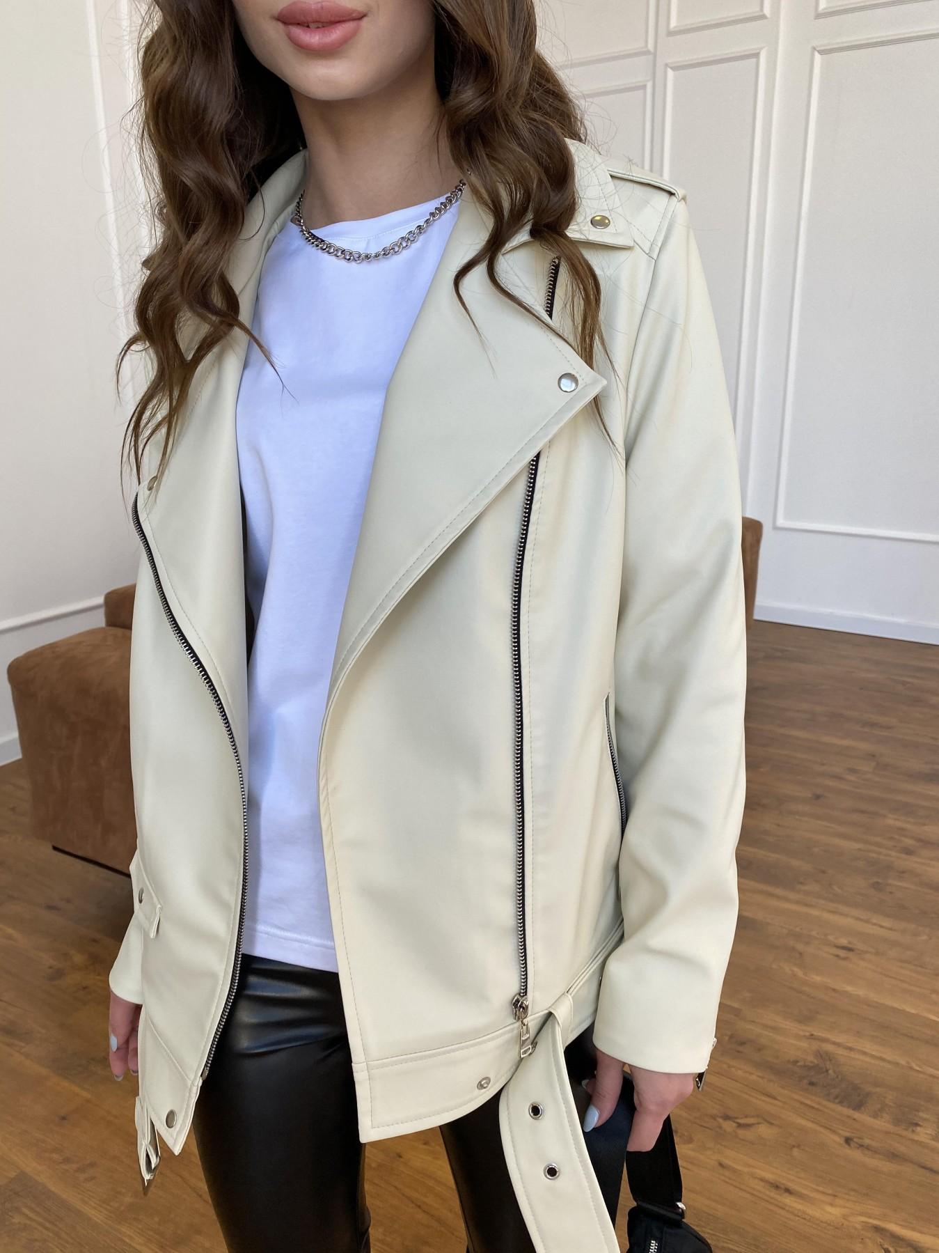 Босс куртка из экокожи прокатанной  11173 АРТ. 47771 Цвет: Бежевый Светлый - фото 1, интернет магазин tm-modus.ru
