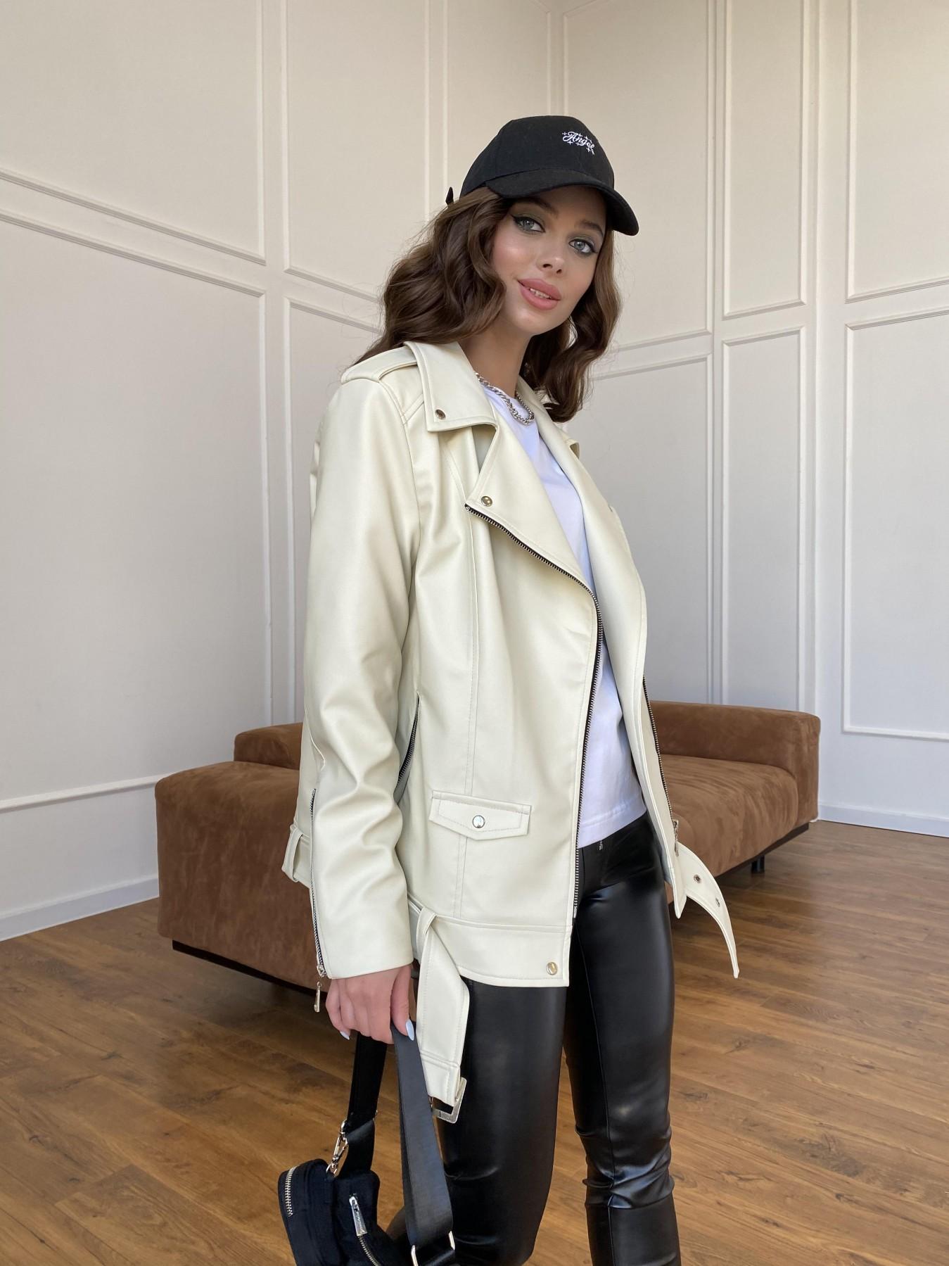 Босс куртка из экокожи прокатанной  11173 АРТ. 47771 Цвет: Бежевый Светлый - фото 3, интернет магазин tm-modus.ru