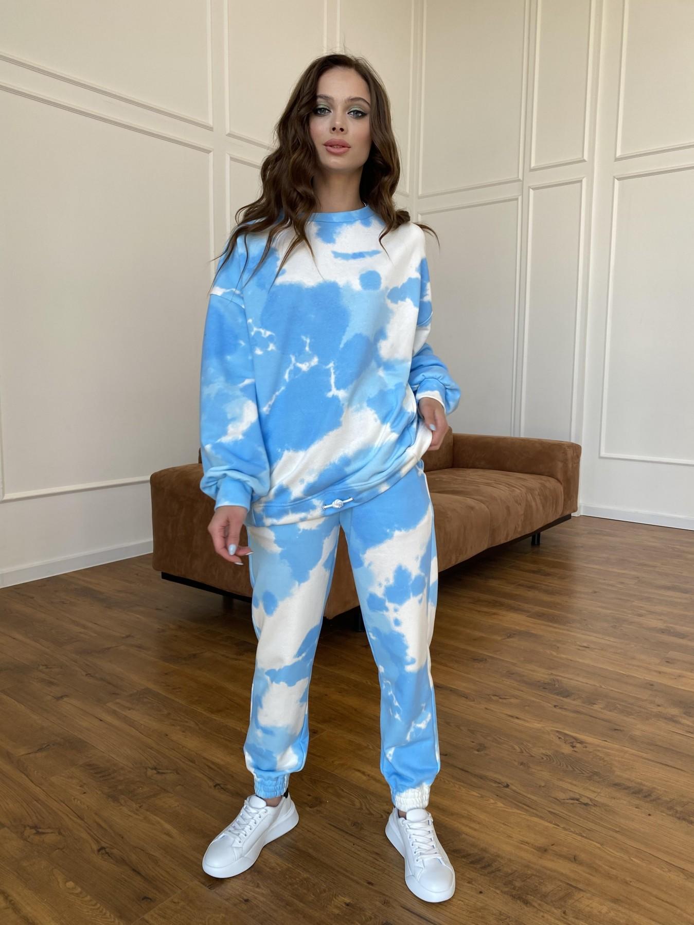Скай костюм c принтом из 3х нитки 11248 АРТ. 47769 Цвет: Молоко/голубойТайДай - фото 1, интернет магазин tm-modus.ru