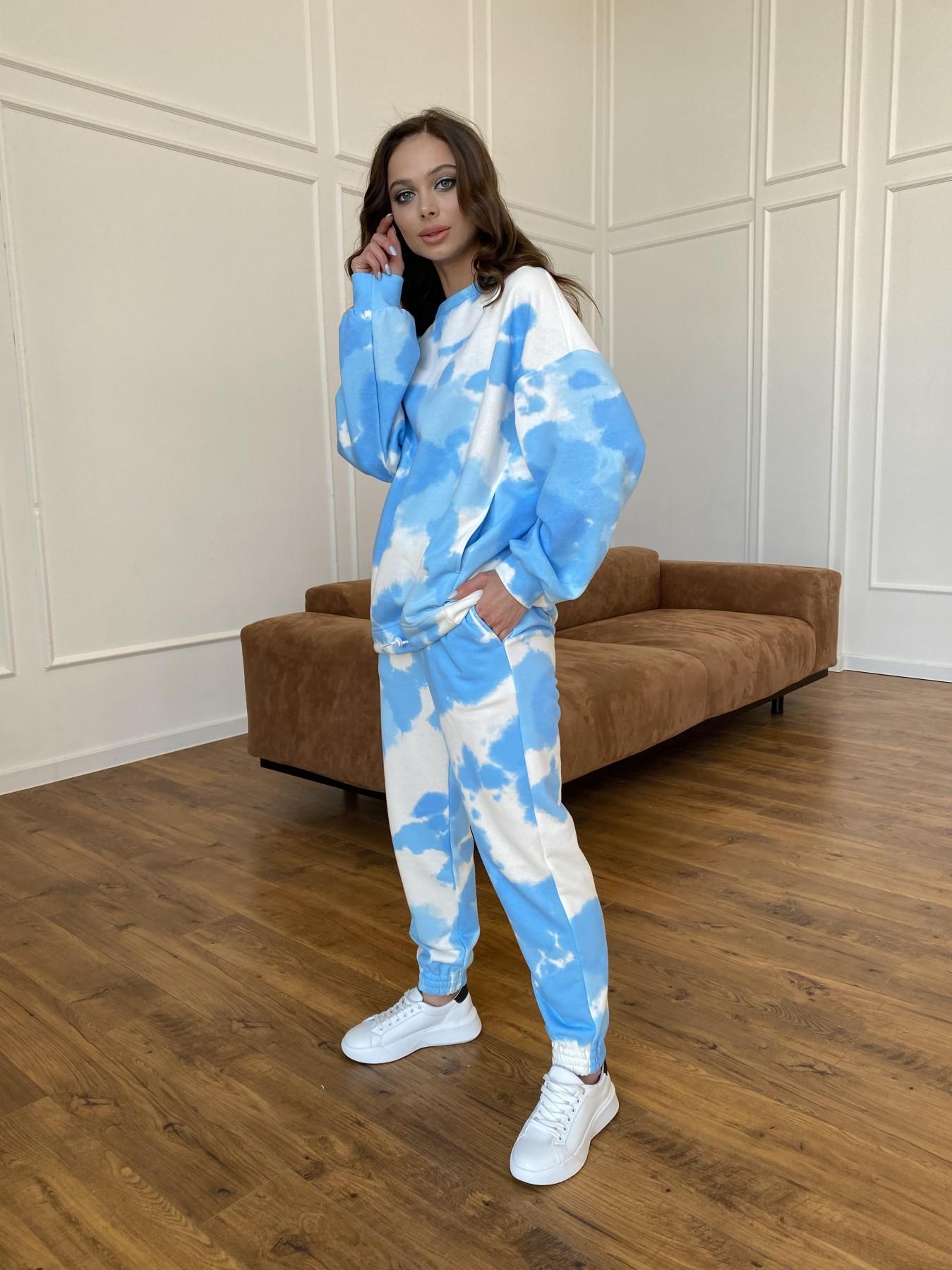 Скай костюм c принтом из 3х нитки 11248 АРТ. 47769 Цвет: Молоко/голубойТайДай - фото 4, интернет магазин tm-modus.ru