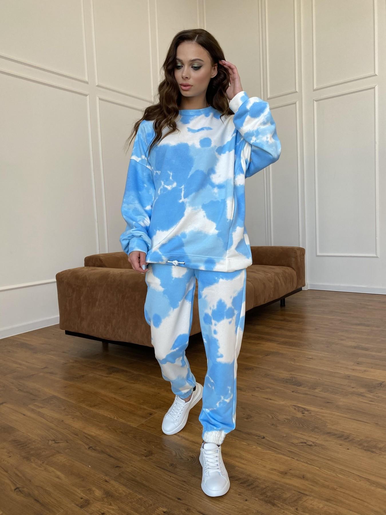 Скай костюм c принтом из 3х нитки 11248 АРТ. 47769 Цвет: Молоко/голубойТайДай - фото 7, интернет магазин tm-modus.ru