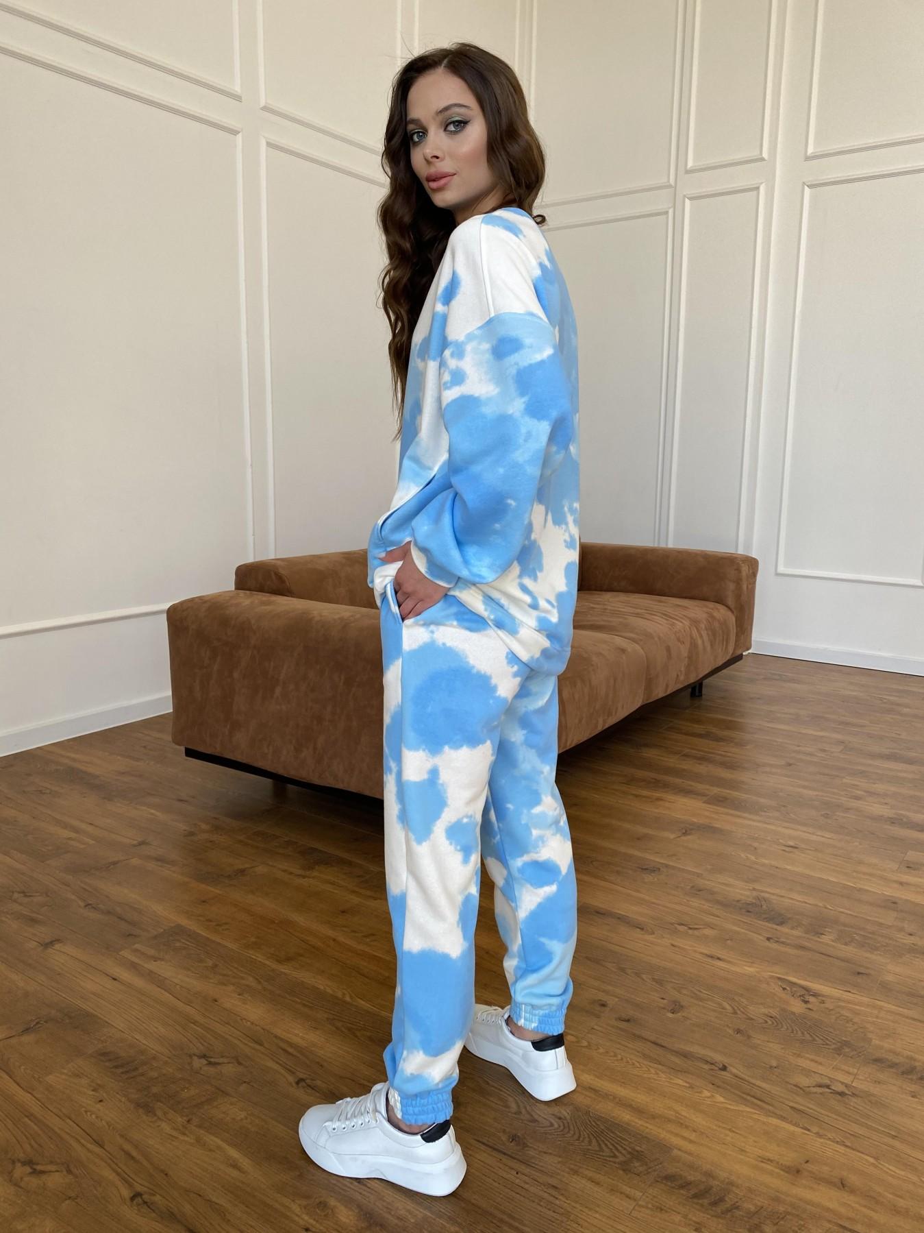 Скай костюм c принтом из 3х нитки 11248 АРТ. 47769 Цвет: Молоко/голубойТайДай - фото 8, интернет магазин tm-modus.ru