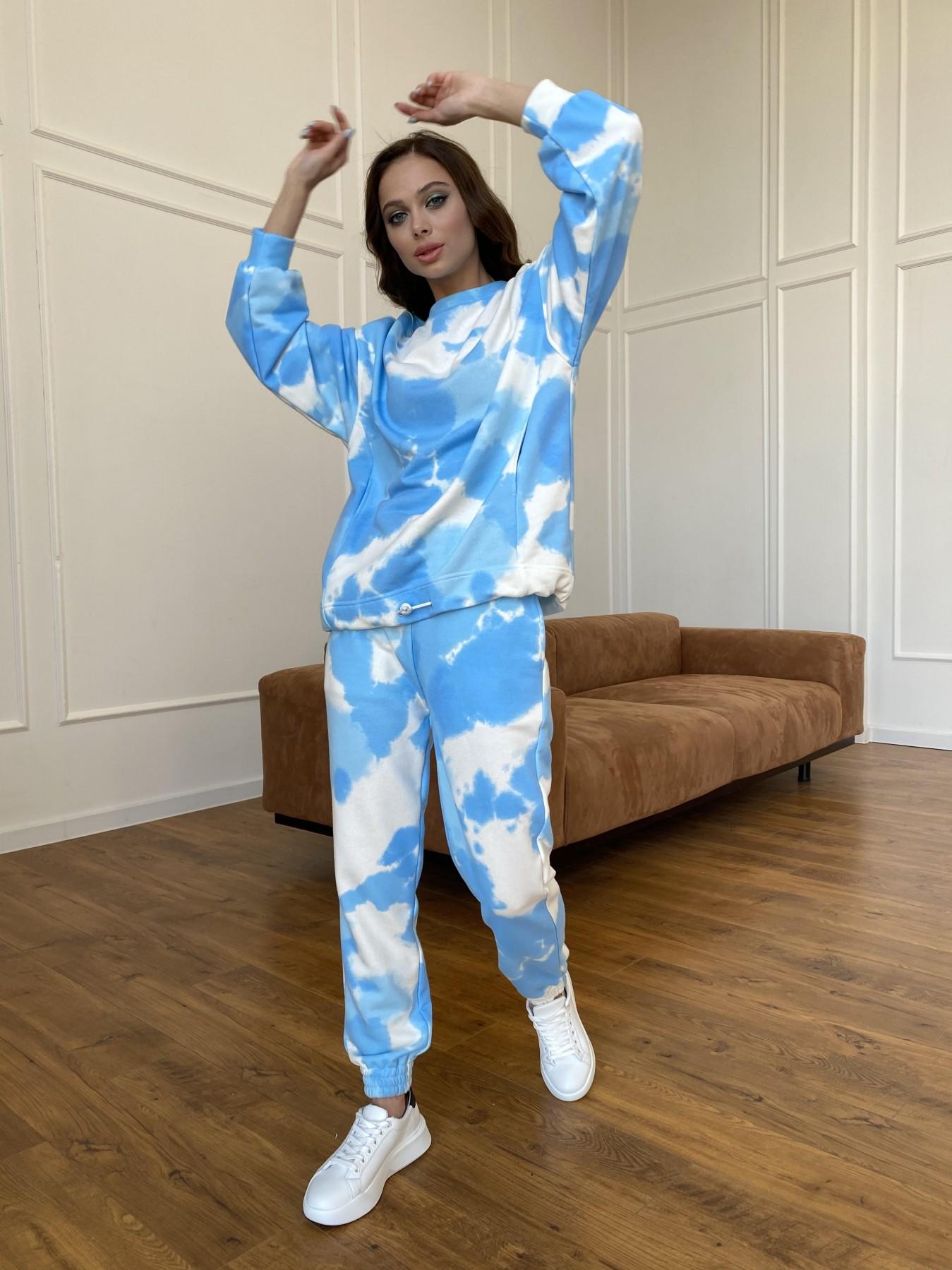 Скай костюм c принтом из 3х нитки 11248 АРТ. 47769 Цвет: Молоко/голубойТайДай - фото 12, интернет магазин tm-modus.ru