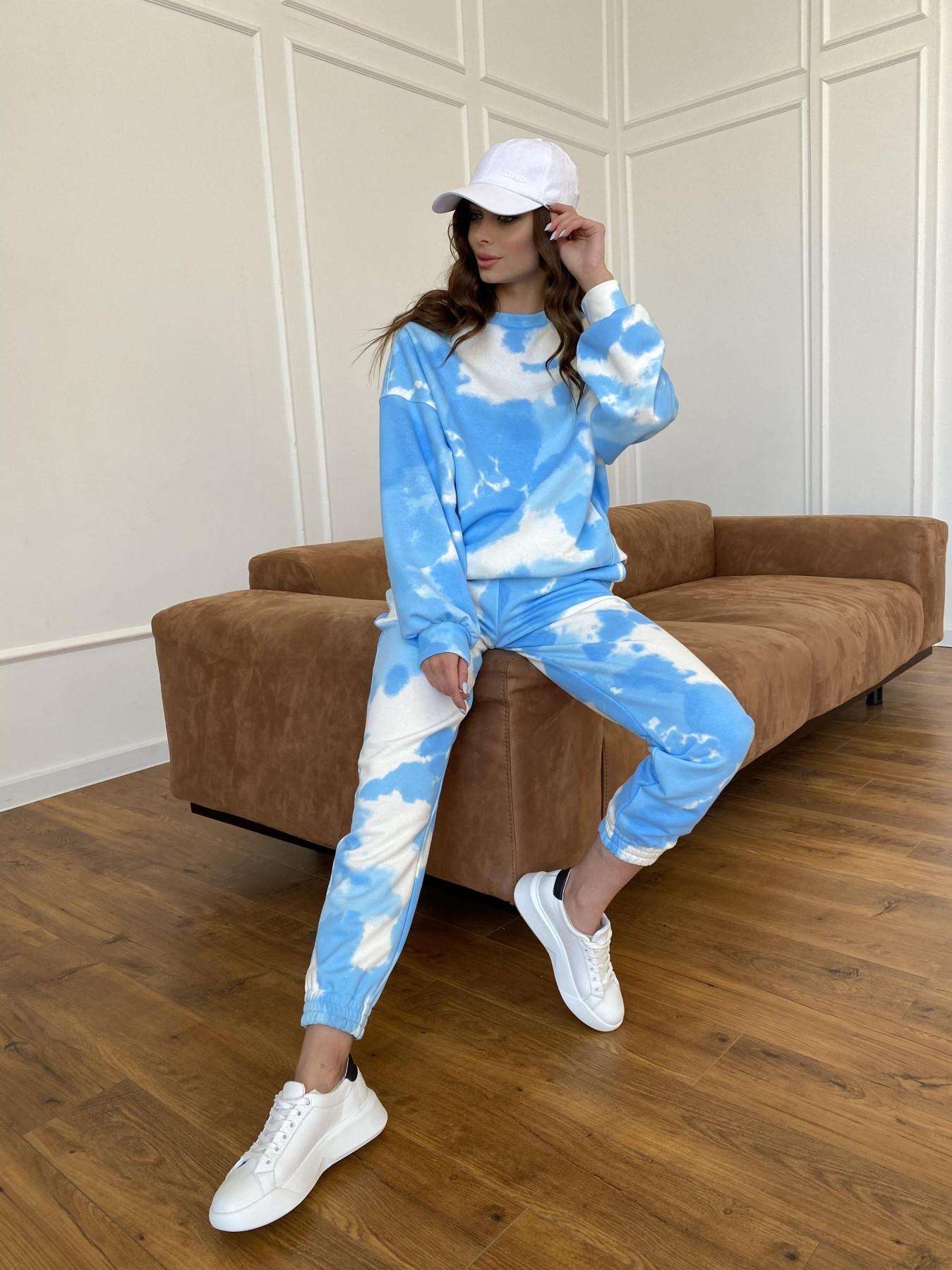 Скай костюм c принтом из 3х нитки 11248 АРТ. 47769 Цвет: Молоко/голубойТайДай - фото 15, интернет магазин tm-modus.ru