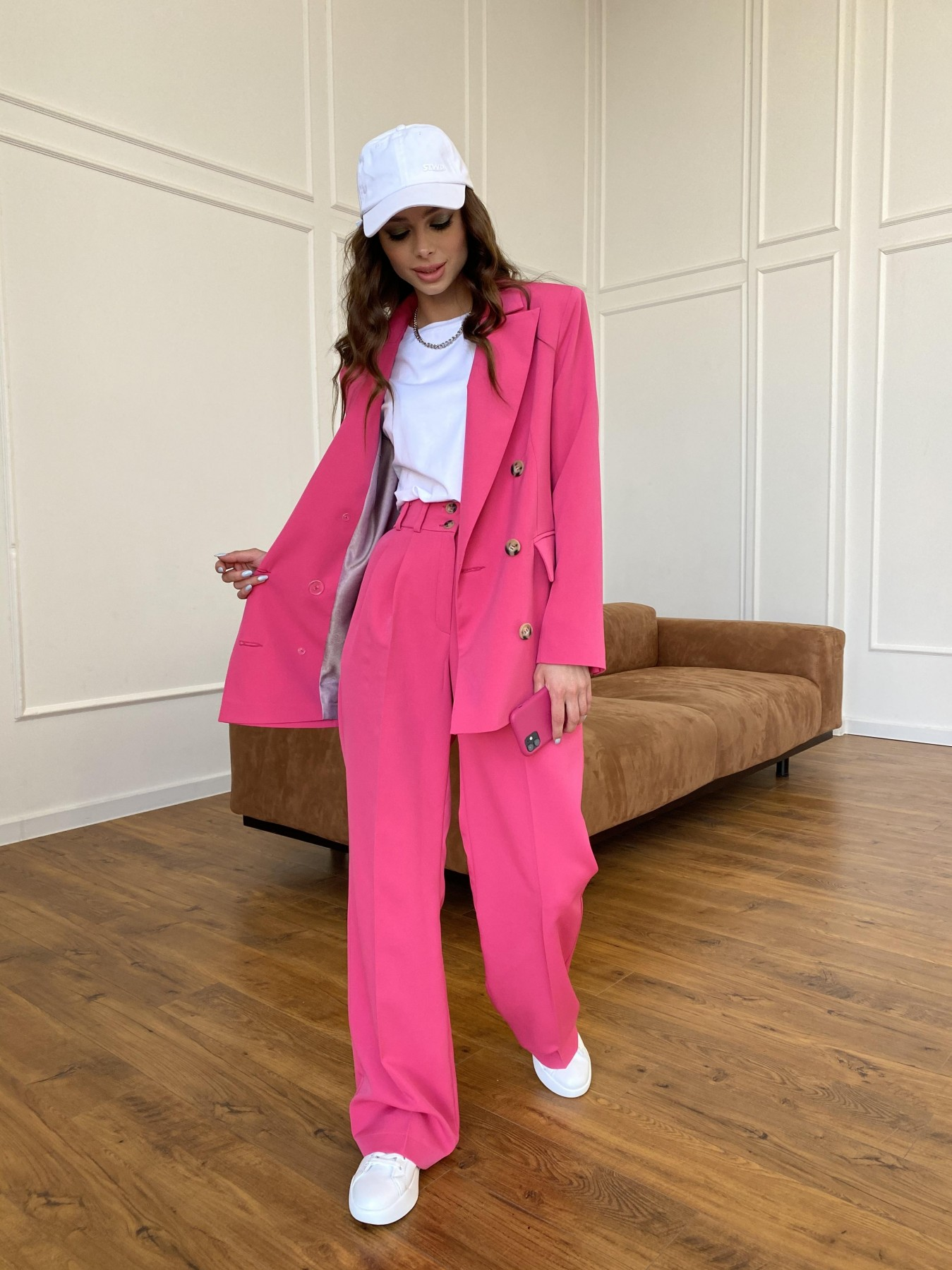 Белисимо  костюм стрейч из костюмной ткани 11217 АРТ. 47720 Цвет: Малиновый - фото 4, интернет магазин tm-modus.ru