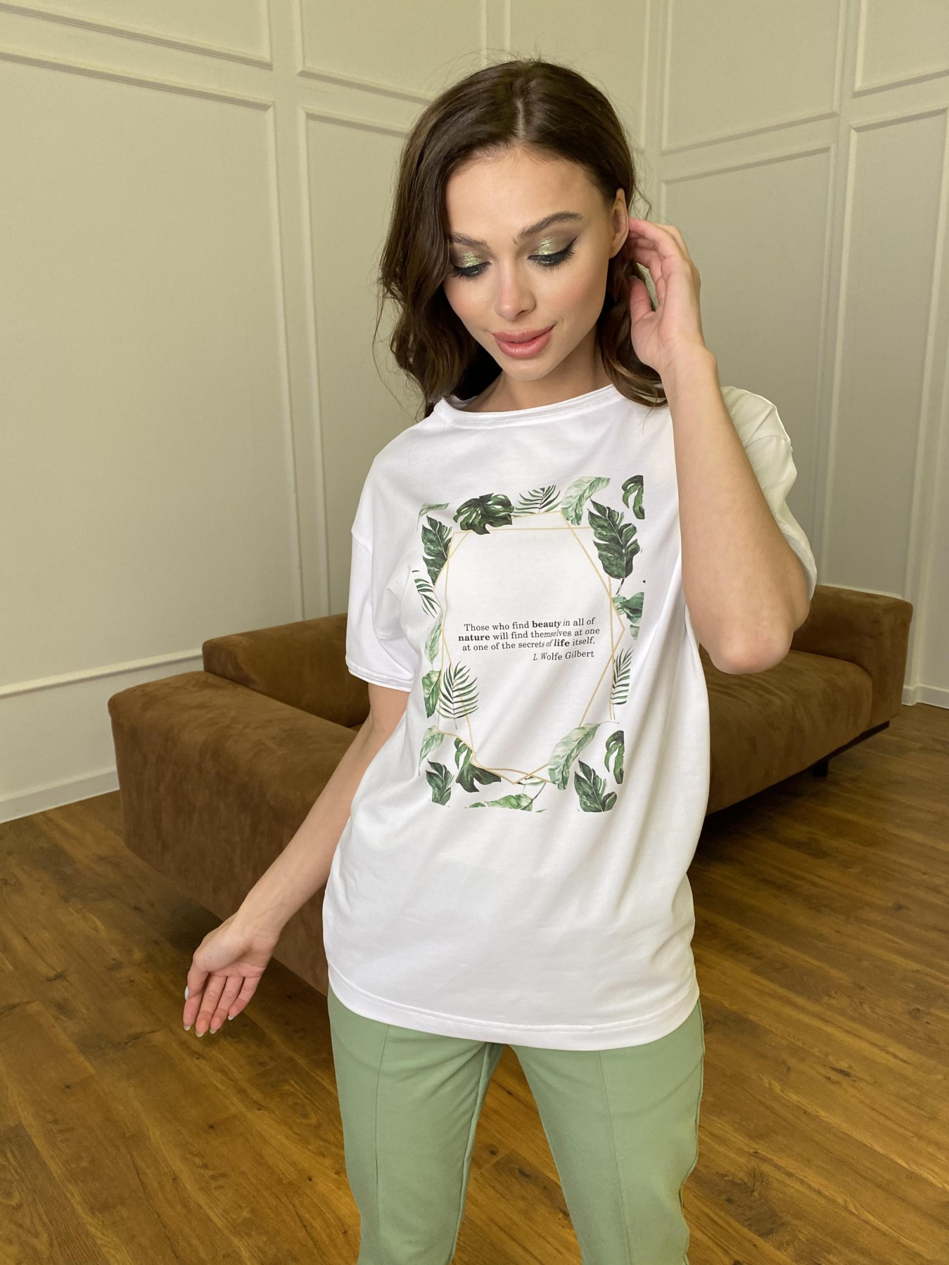 Тропик футболка из вискозы однотонная хлопок 11240 АРТ. 47761 Цвет: Белый - фото 2, интернет магазин tm-modus.ru