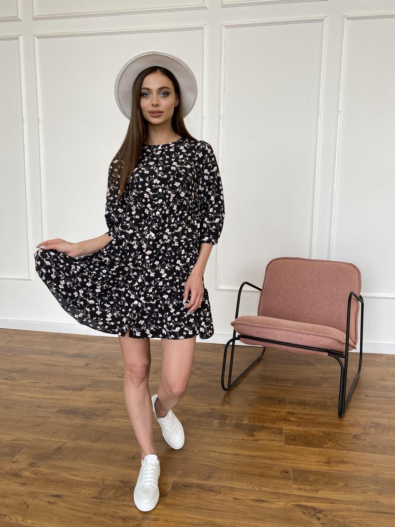 Берри платье из ткани софт в принт 11211 АРТ. 47723 Цвет: Черный/молоко, Цветы - фото 1, интернет магазин tm-modus.ru