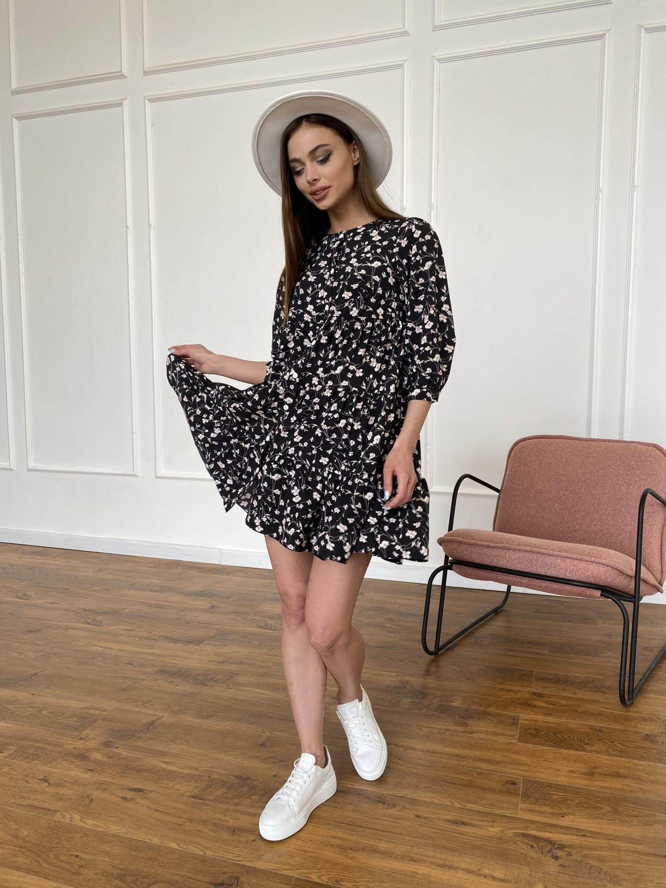 Берри платье из ткани софт в принт 11211 АРТ. 47723 Цвет: Черный/молоко, Цветы - фото 2, интернет магазин tm-modus.ru