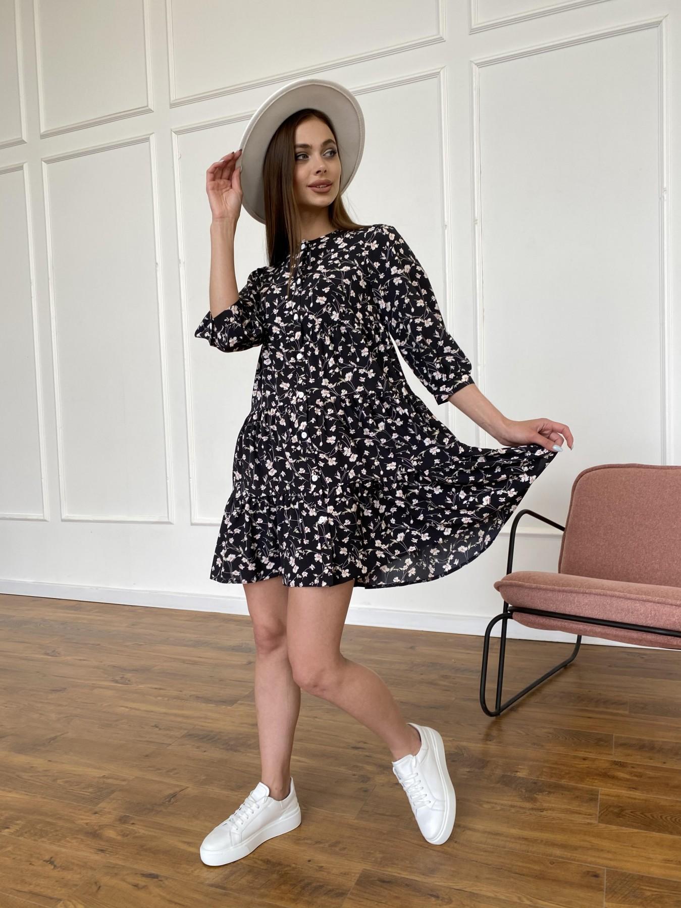 Берри платье из ткани софт в принт 11211 АРТ. 47723 Цвет: Черный/молоко, Цветы - фото 3, интернет магазин tm-modus.ru