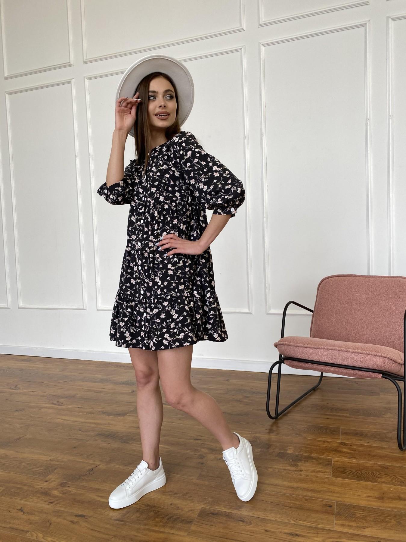 Берри платье из ткани софт в принт 11211 АРТ. 47723 Цвет: Черный/молоко, Цветы - фото 4, интернет магазин tm-modus.ru