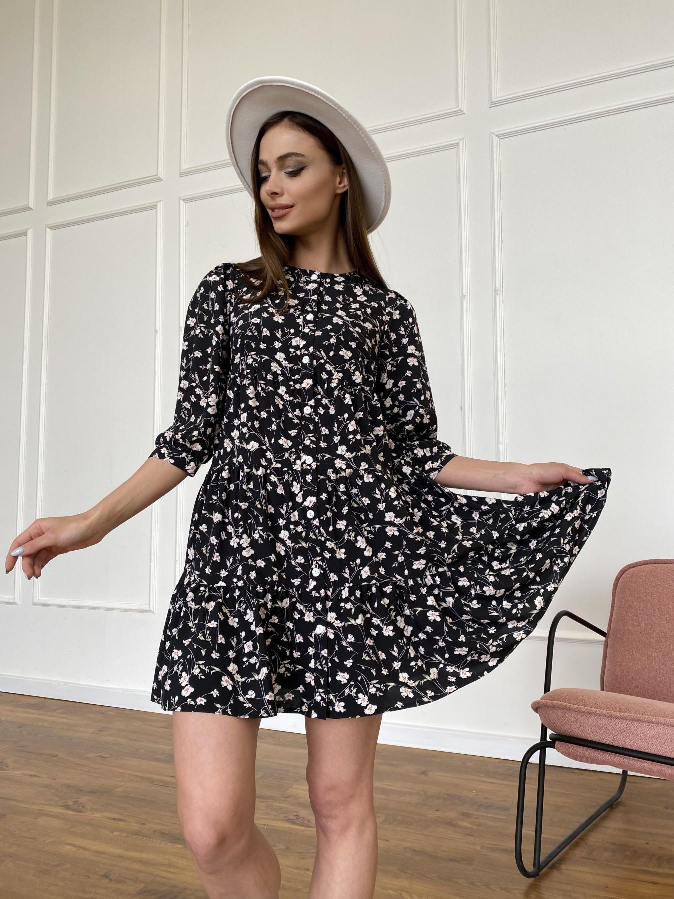 Берри платье из ткани софт в принт 11211 АРТ. 47723 Цвет: Черный/молоко, Цветы - фото 5, интернет магазин tm-modus.ru
