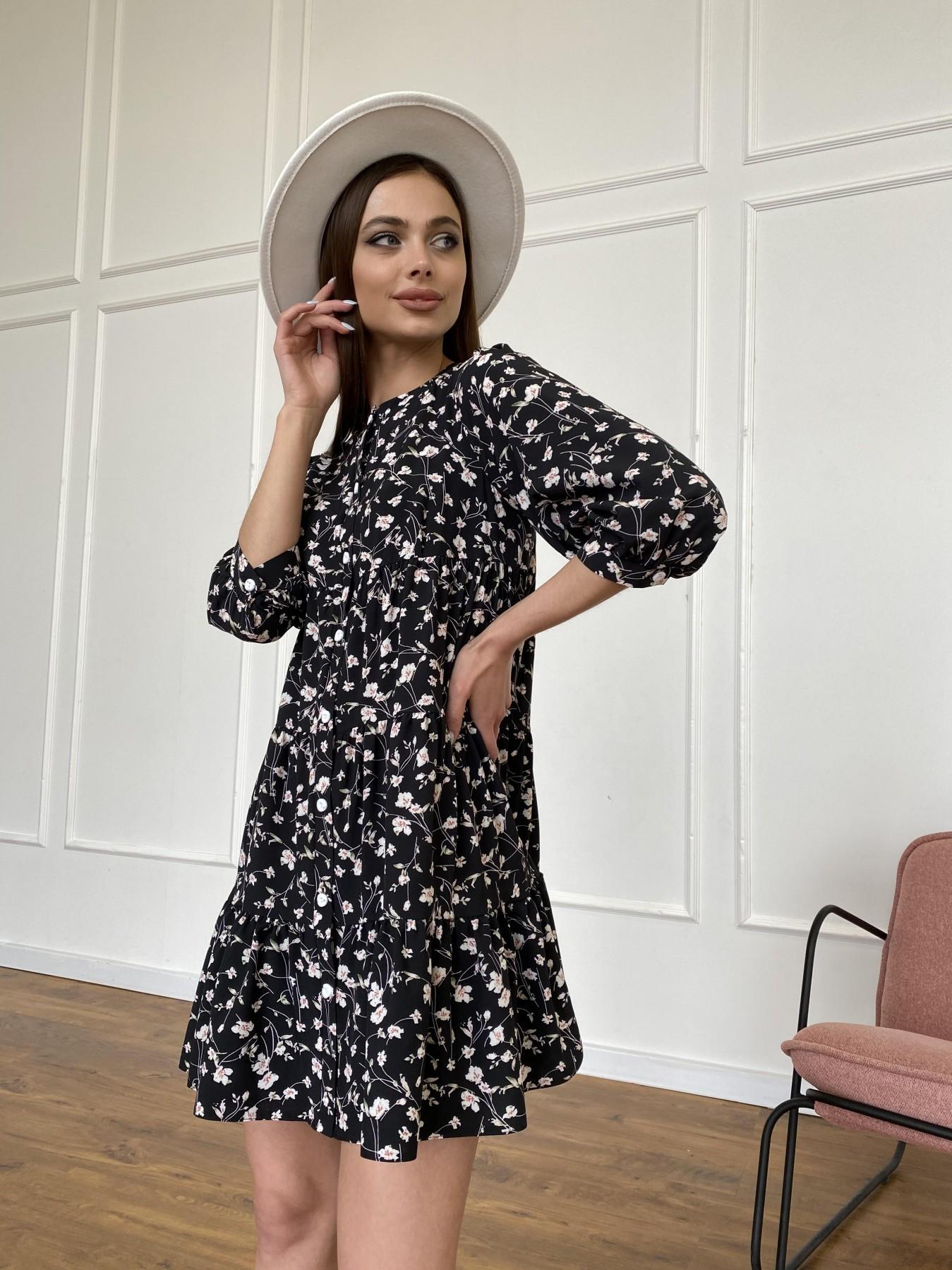 Берри платье из ткани софт в принт 11211 АРТ. 47723 Цвет: Черный/молоко, Цветы - фото 6, интернет магазин tm-modus.ru