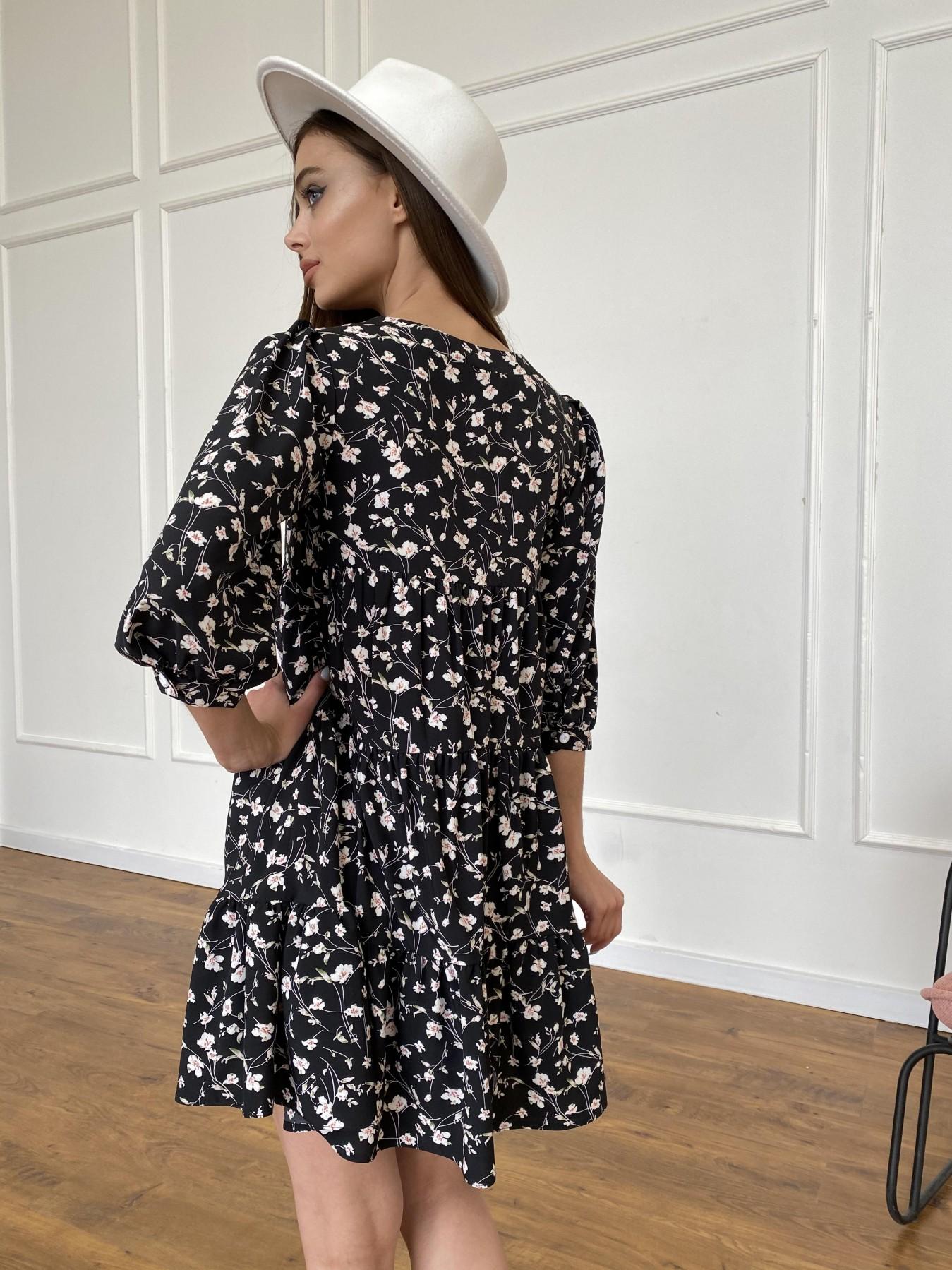 Берри платье из ткани софт в принт 11211 АРТ. 47723 Цвет: Черный/молоко, Цветы - фото 8, интернет магазин tm-modus.ru