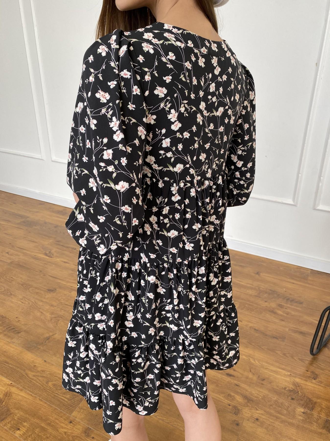Берри платье из ткани софт в принт 11211 АРТ. 47723 Цвет: Черный/молоко, Цветы - фото 9, интернет магазин tm-modus.ru