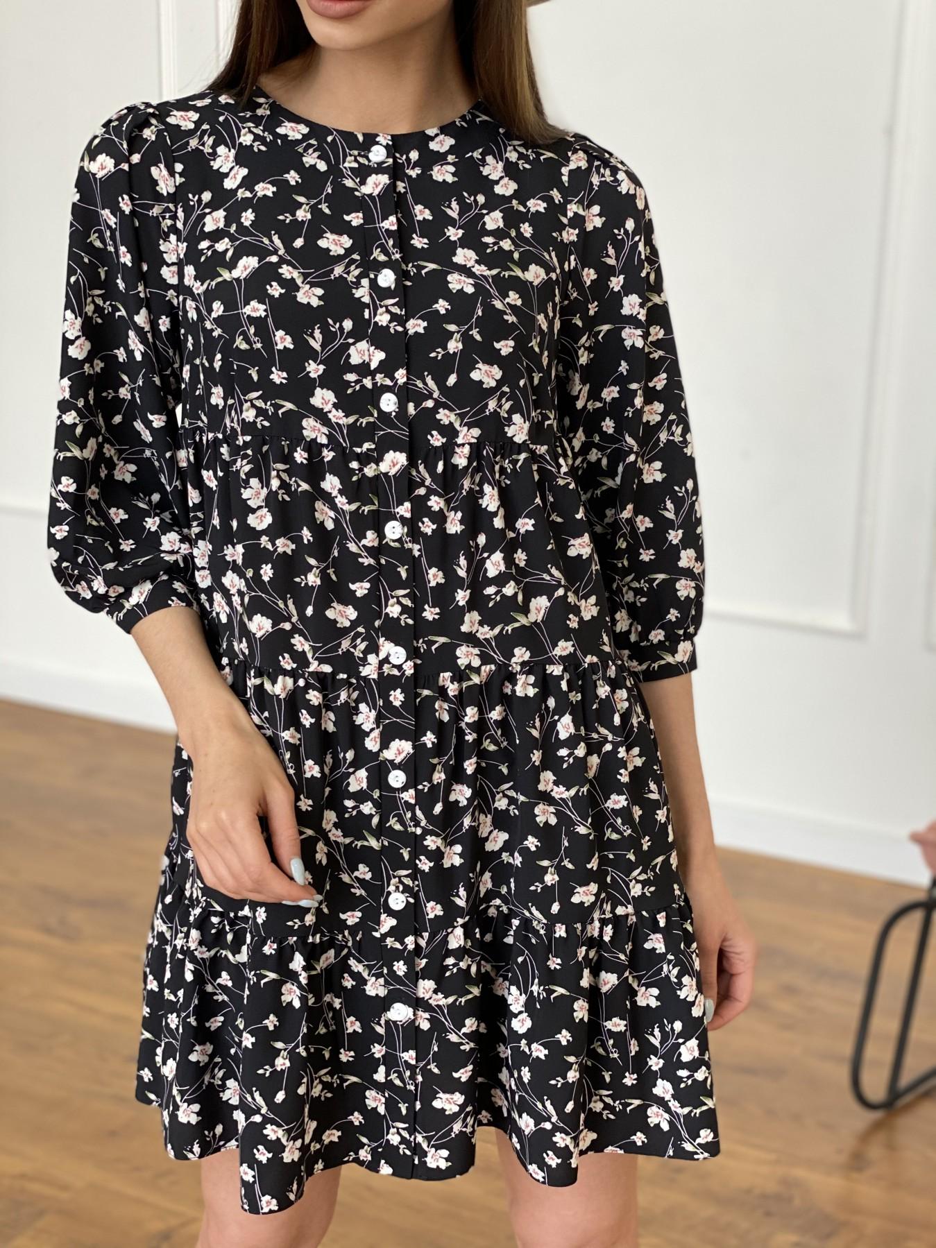 Берри платье из ткани софт в принт 11211 АРТ. 47723 Цвет: Черный/молоко, Цветы - фото 10, интернет магазин tm-modus.ru