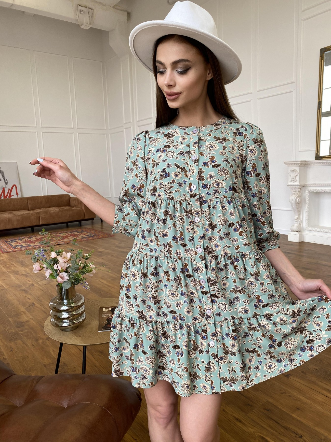 Купить платья в интернет магазине Берри платье из ткани софт в принт 11211