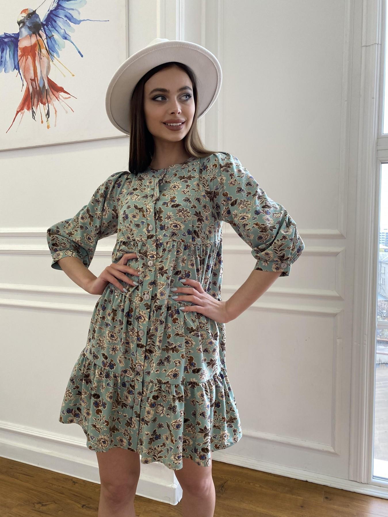 Берри платье из ткани софт в принт 11211 АРТ. 47722 Цвет: Олива/бежевый, Цветы - фото 2, интернет магазин tm-modus.ru