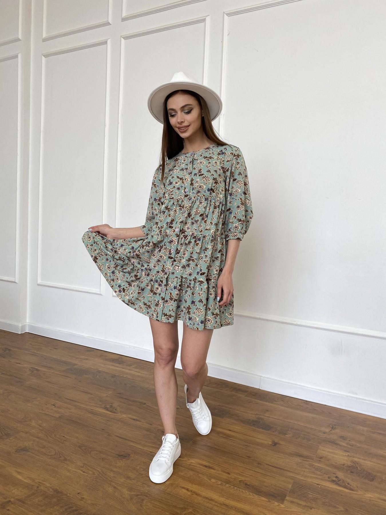 Берри платье из ткани софт в принт 11211 АРТ. 47722 Цвет: Олива/бежевый, Цветы - фото 3, интернет магазин tm-modus.ru