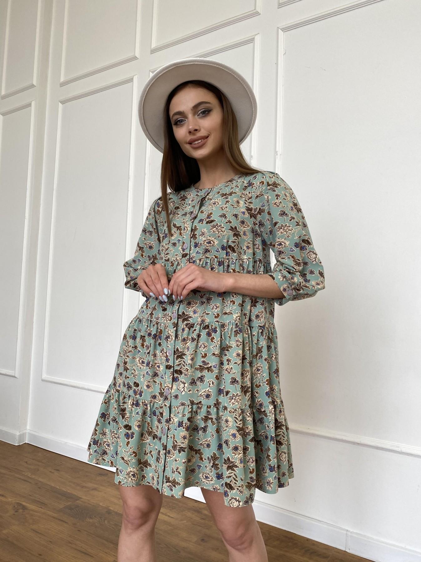 Берри платье из ткани софт в принт 11211 АРТ. 47722 Цвет: Олива/бежевый, Цветы - фото 4, интернет магазин tm-modus.ru