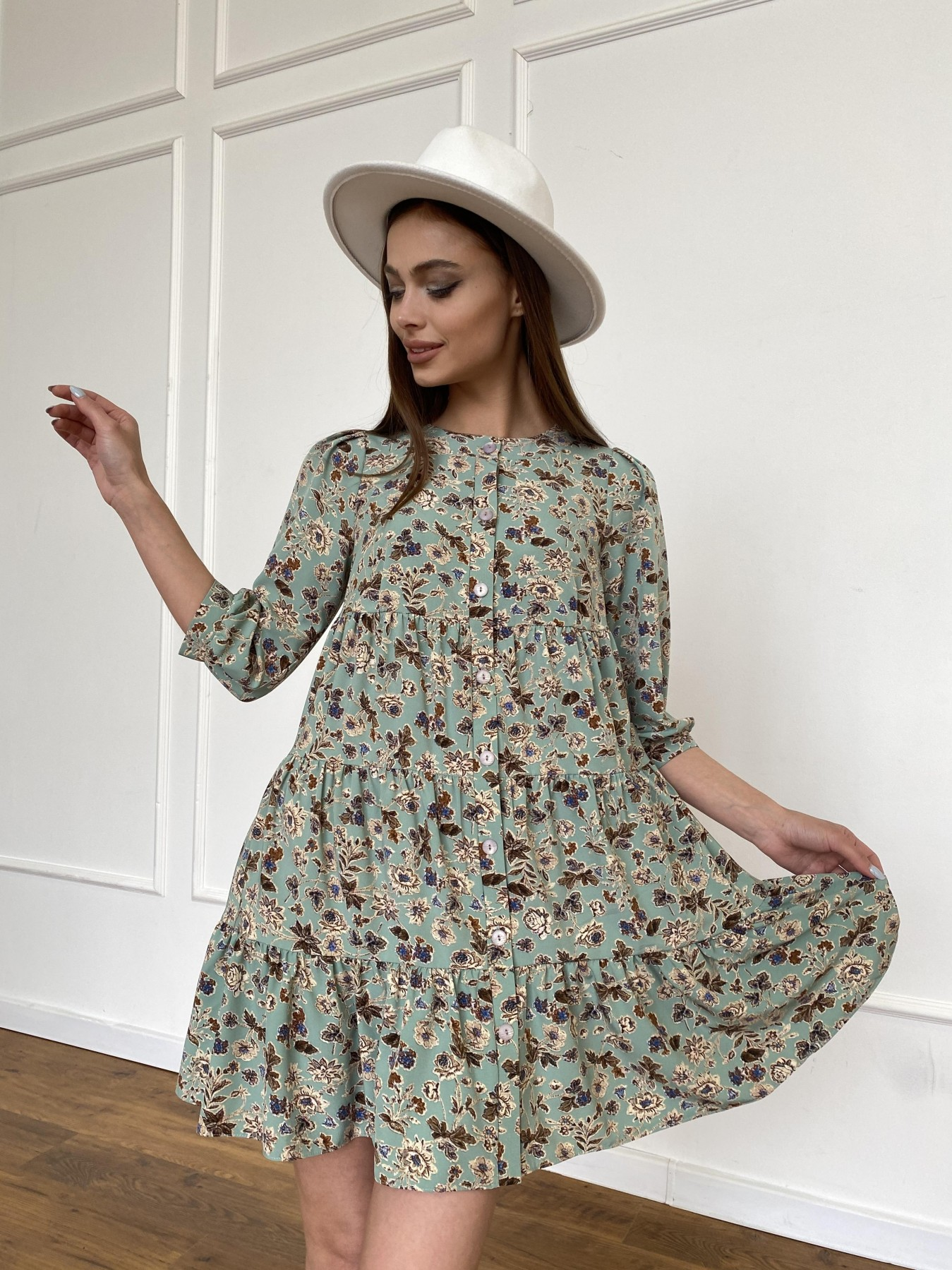 Берри платье из ткани софт в принт 11211 АРТ. 47722 Цвет: Олива/бежевый, Цветы - фото 5, интернет магазин tm-modus.ru