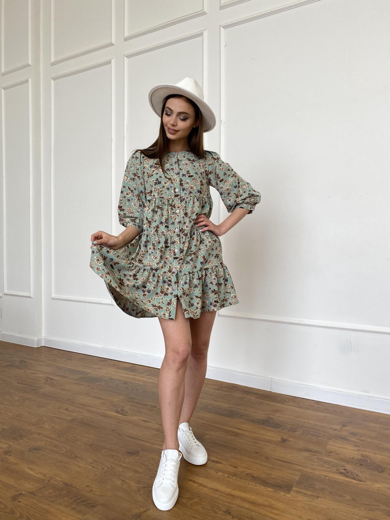 Берри платье из ткани софт в принт 11211 АРТ. 47722 Цвет: Олива/бежевый, Цветы - фото 6, интернет магазин tm-modus.ru