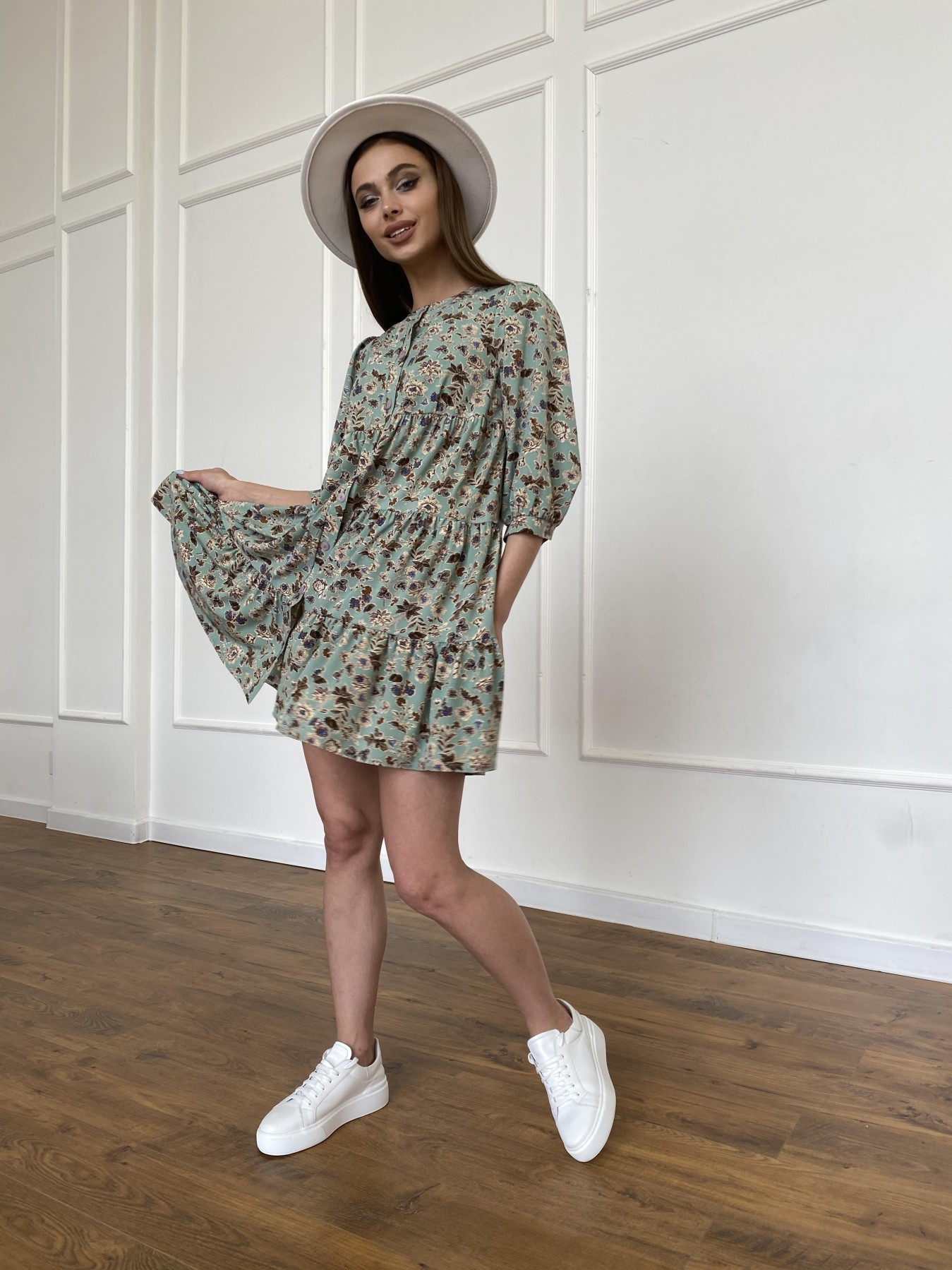 Берри платье из ткани софт в принт 11211 АРТ. 47722 Цвет: Олива/бежевый, Цветы - фото 7, интернет магазин tm-modus.ru