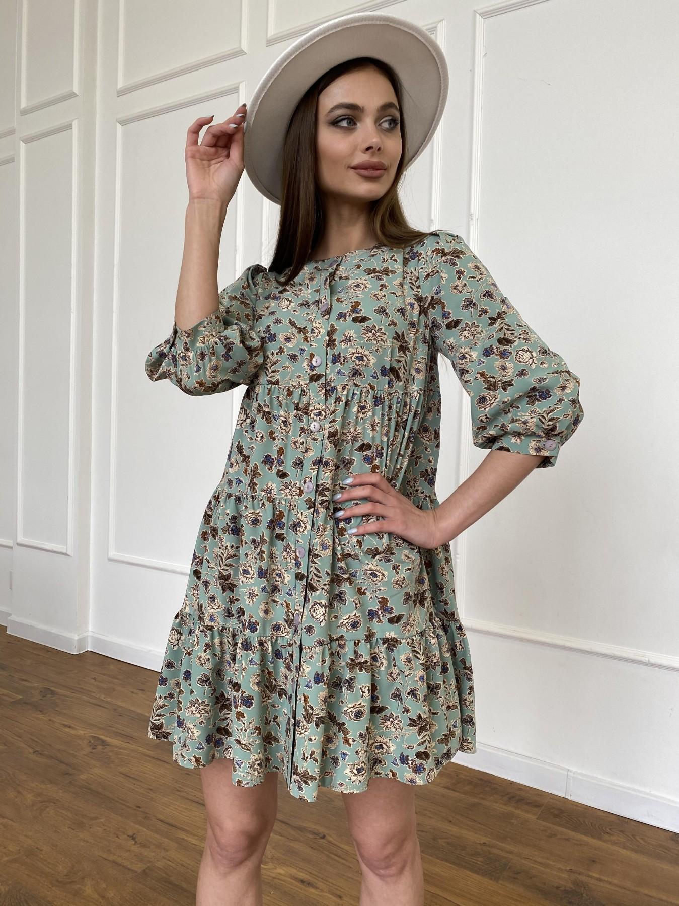 Берри платье из ткани софт в принт 11211 АРТ. 47722 Цвет: Олива/бежевый, Цветы - фото 8, интернет магазин tm-modus.ru