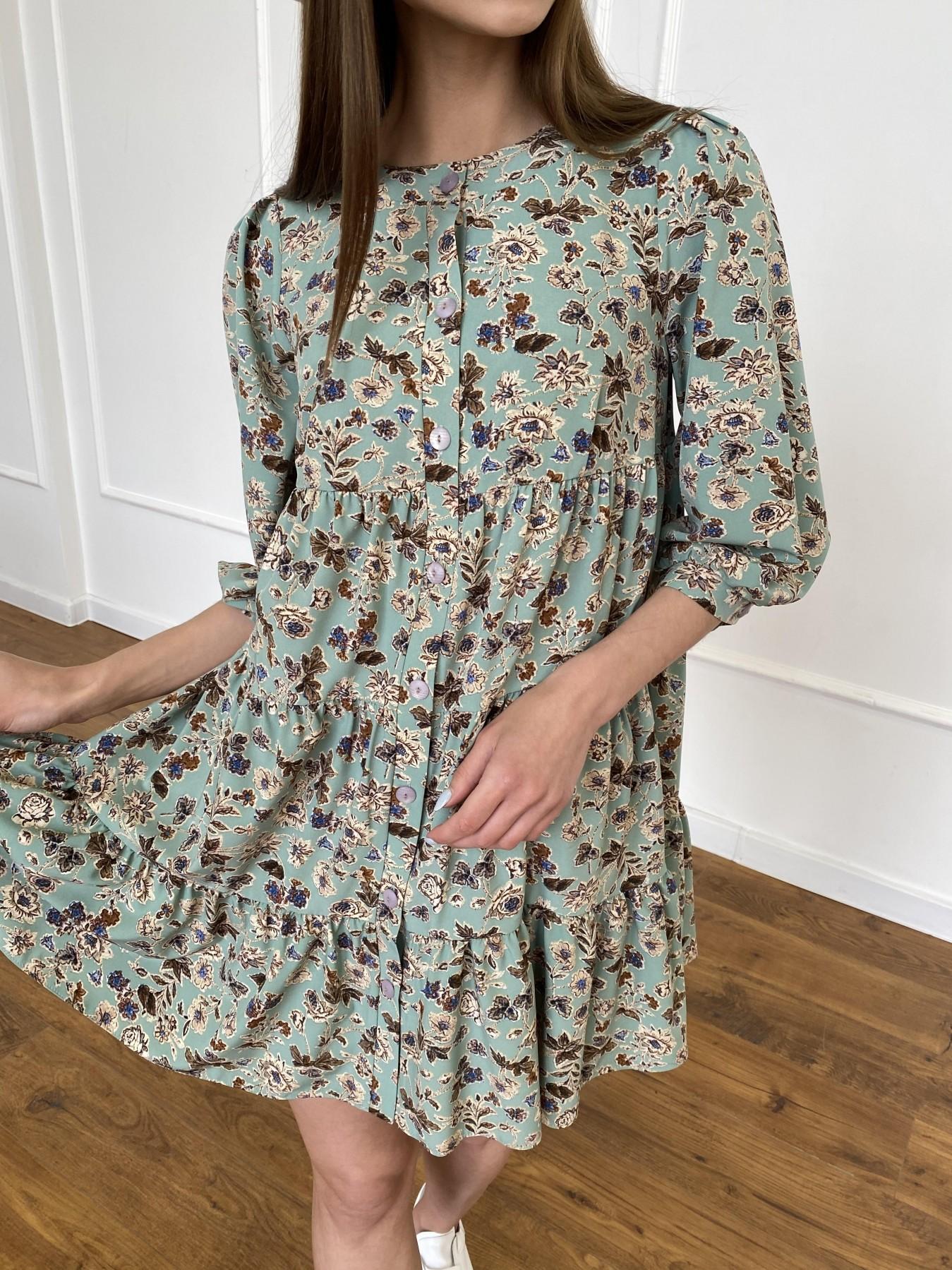 Берри платье из ткани софт в принт 11211 АРТ. 47722 Цвет: Олива/бежевый, Цветы - фото 9, интернет магазин tm-modus.ru
