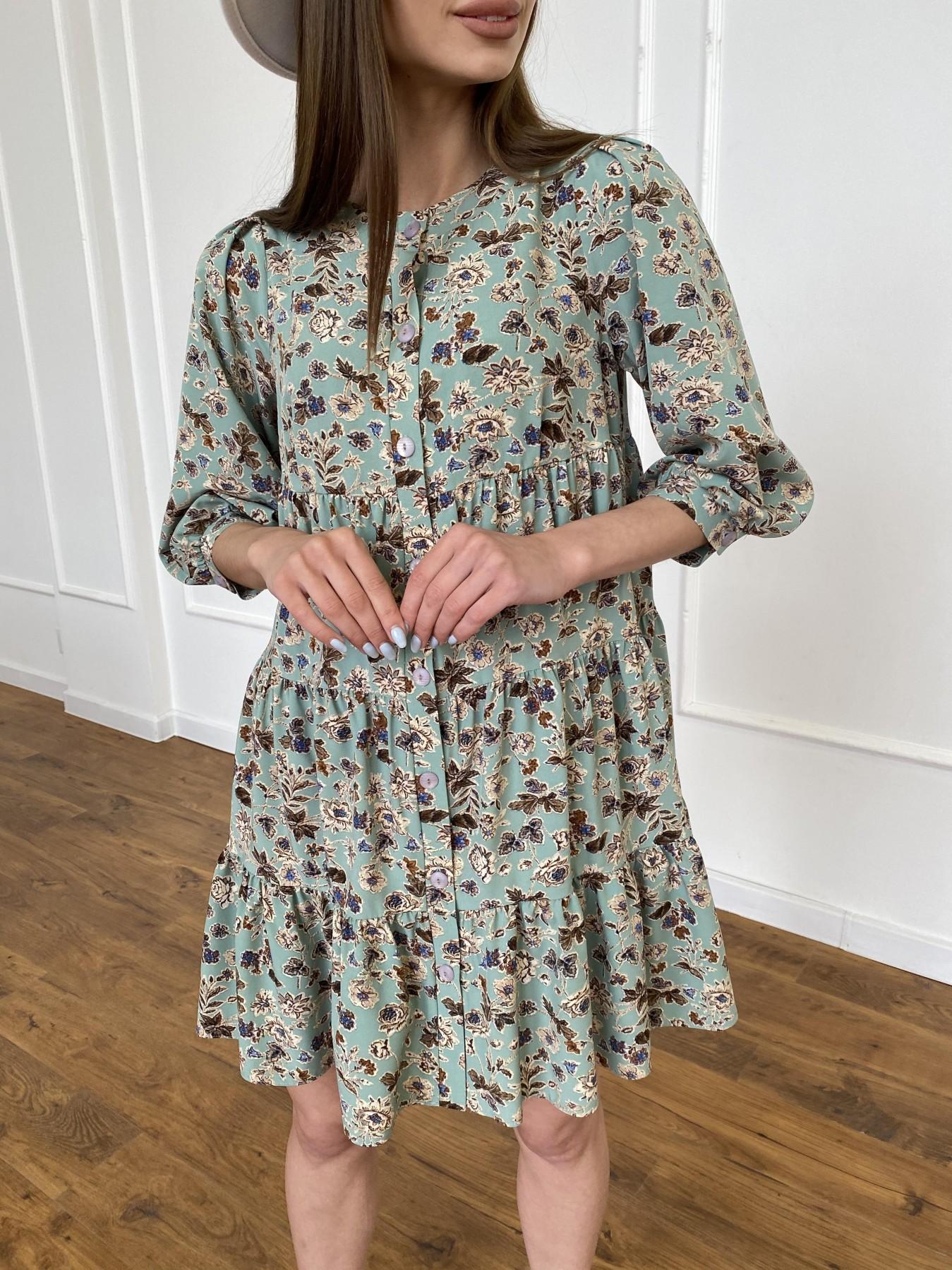 Берри платье из ткани софт в принт 11211 АРТ. 47722 Цвет: Олива/бежевый, Цветы - фото 10, интернет магазин tm-modus.ru