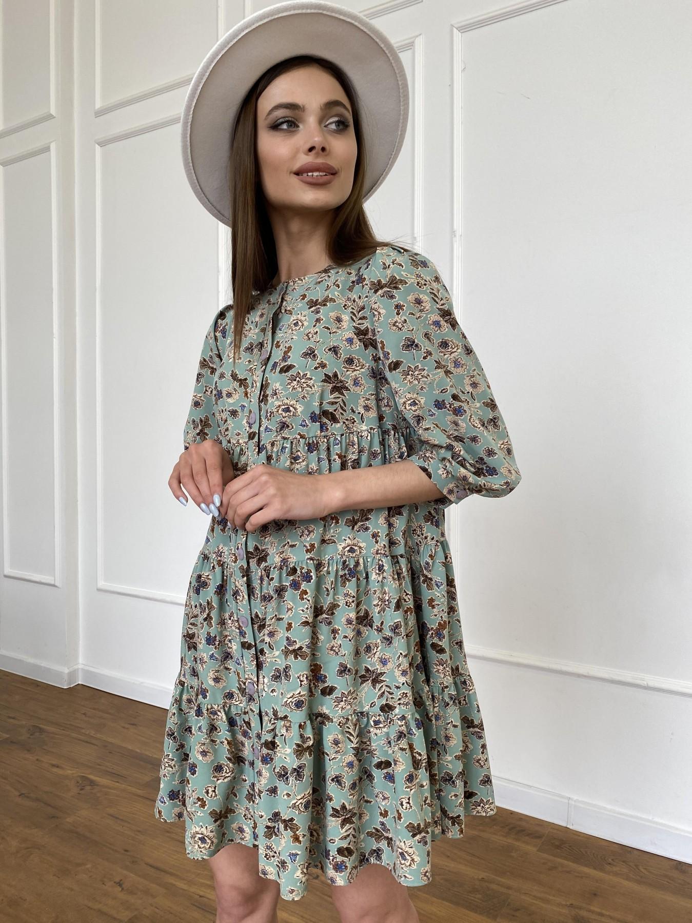 Берри платье из ткани софт в принт 11211 АРТ. 47722 Цвет: Олива/бежевый, Цветы - фото 11, интернет магазин tm-modus.ru