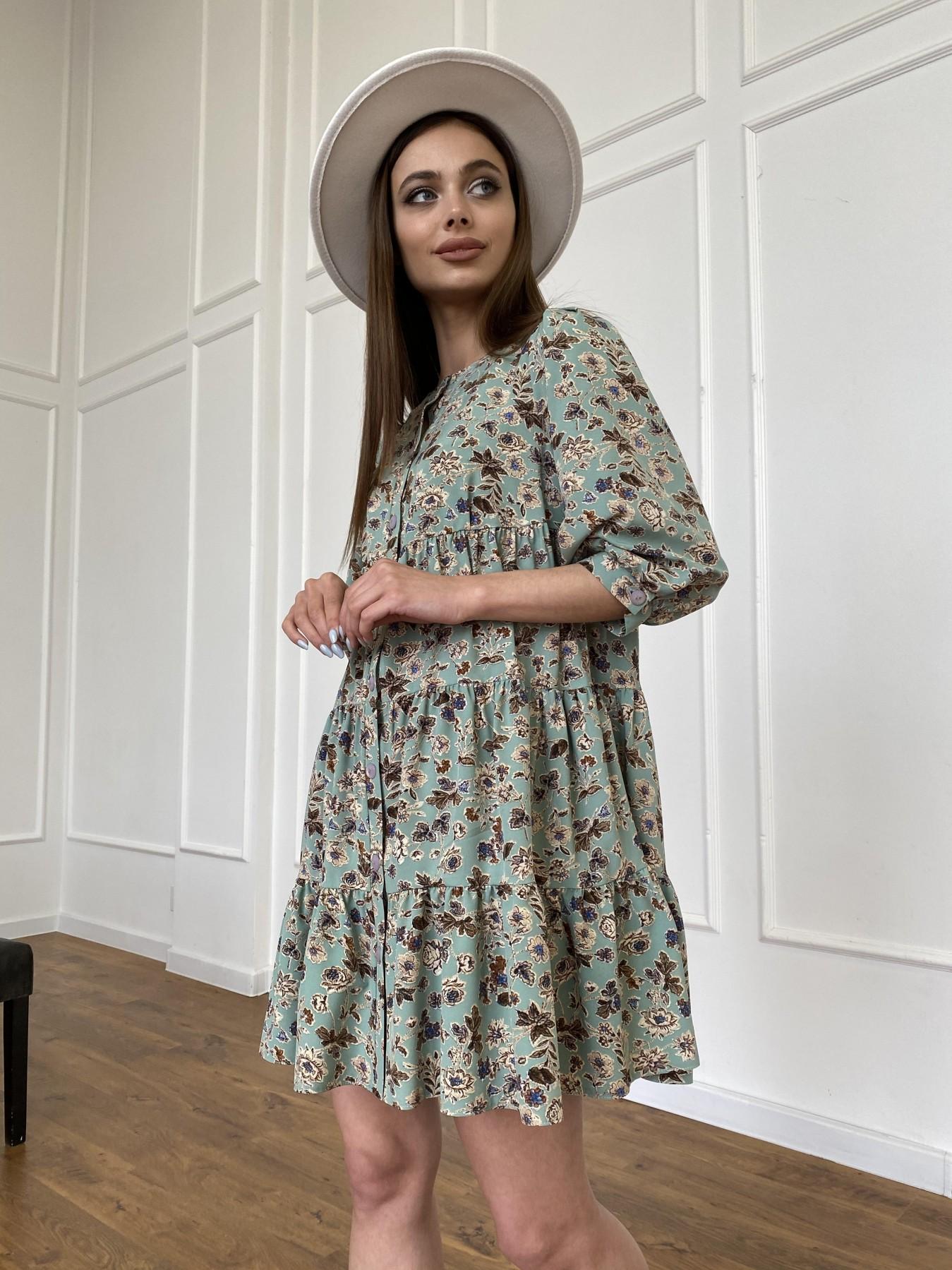 Берри платье из ткани софт в принт 11211 АРТ. 47722 Цвет: Олива/бежевый, Цветы - фото 12, интернет магазин tm-modus.ru
