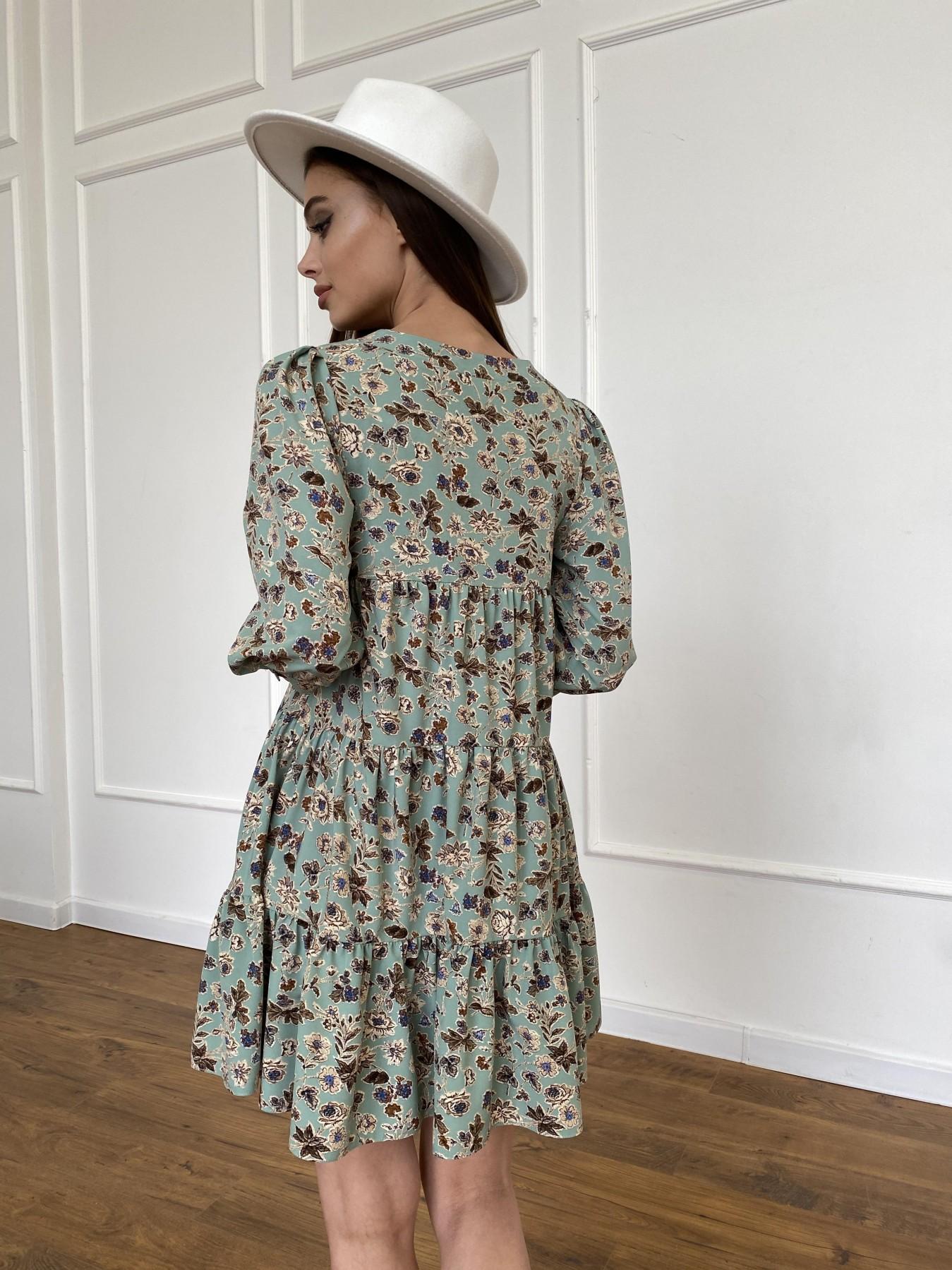 Берри платье из ткани софт в принт 11211 АРТ. 47722 Цвет: Олива/бежевый, Цветы - фото 13, интернет магазин tm-modus.ru