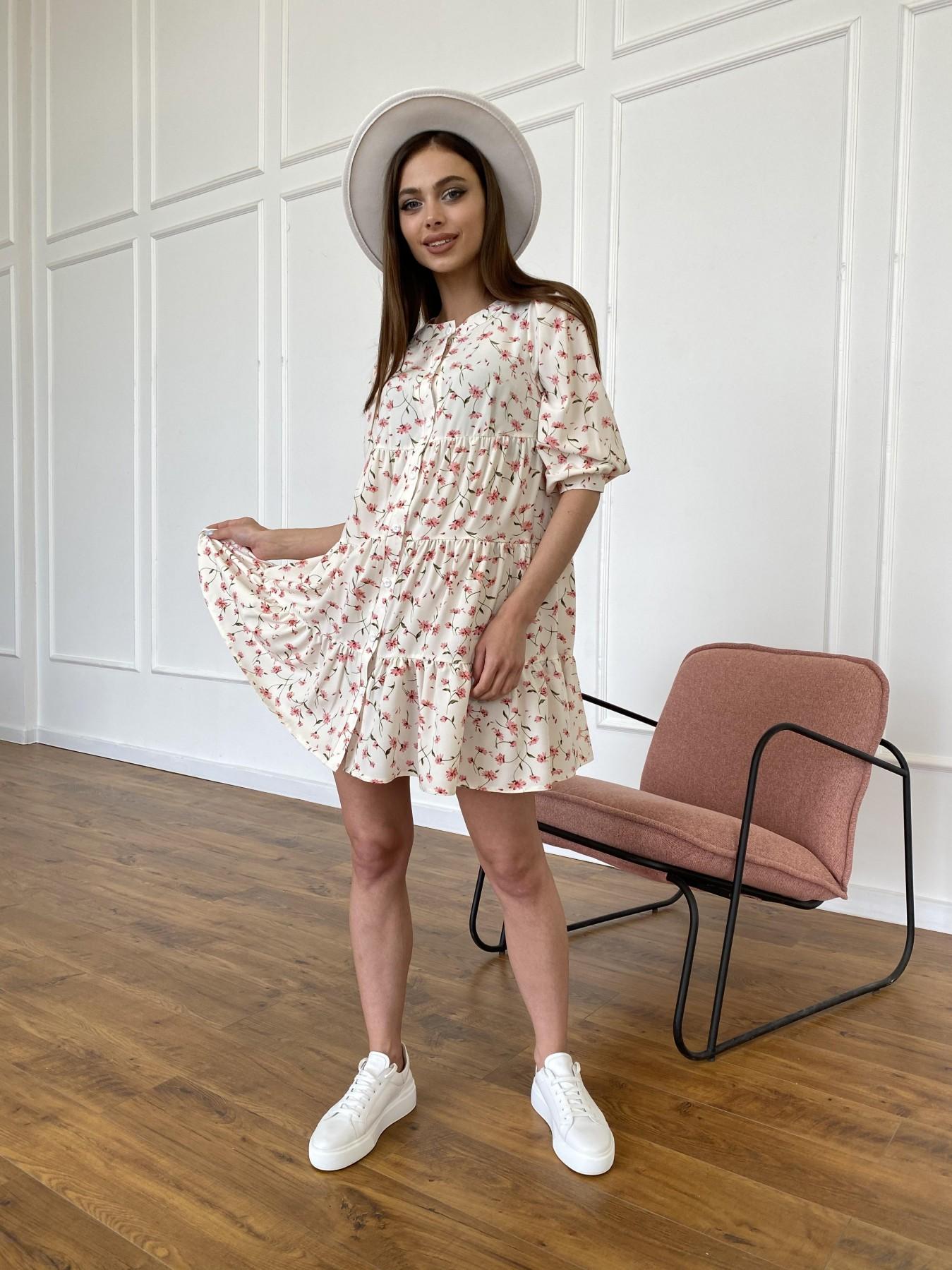 Берри платье из ткани софт в принт 11211 АРТ. 47724 Цвет: Молоко/розовый, Цветы - фото 1, интернет магазин tm-modus.ru