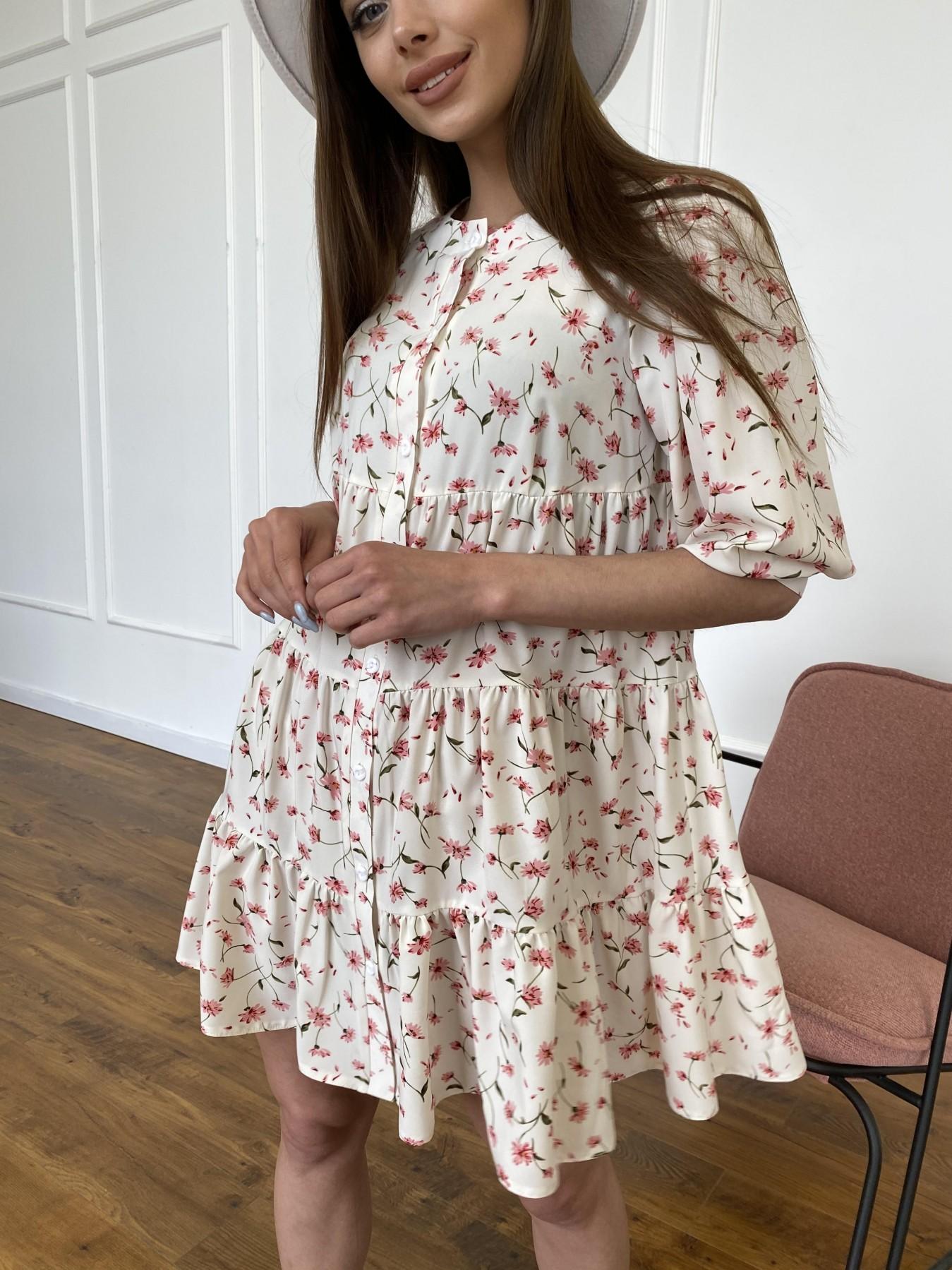 Берри платье из ткани софт в принт 11211 АРТ. 47724 Цвет: Молоко/розовый, Цветы - фото 3, интернет магазин tm-modus.ru