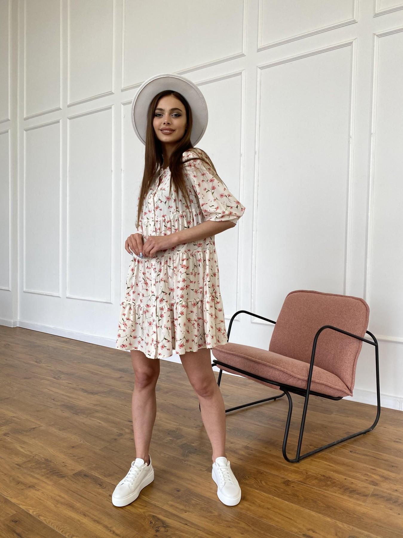 Берри платье из ткани софт в принт 11211 АРТ. 47724 Цвет: Молоко/розовый, Цветы - фото 4, интернет магазин tm-modus.ru