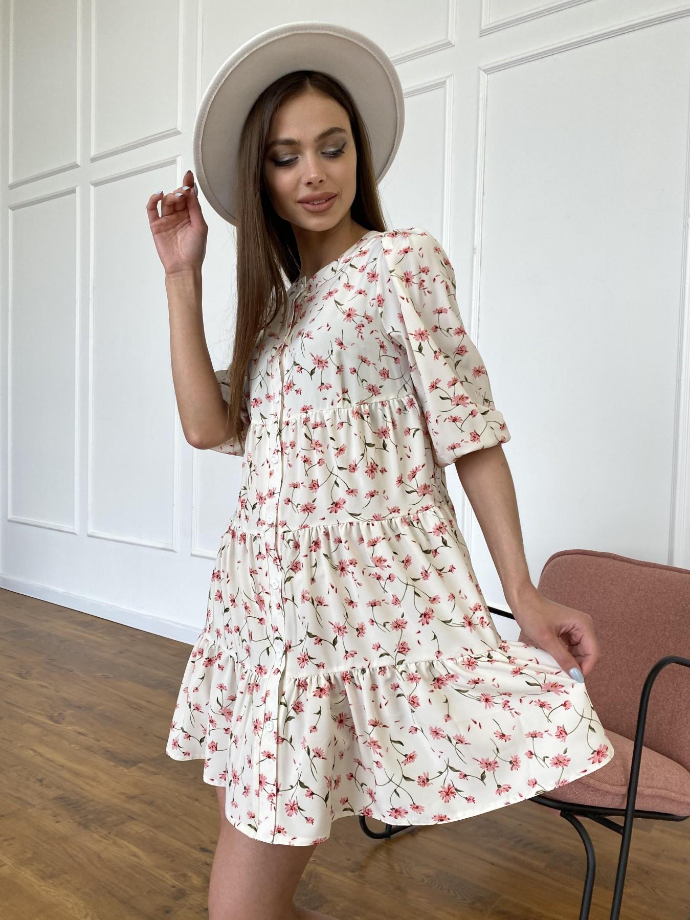 Берри платье из ткани софт в принт 11211 АРТ. 47724 Цвет: Молоко/розовый, Цветы - фото 5, интернет магазин tm-modus.ru