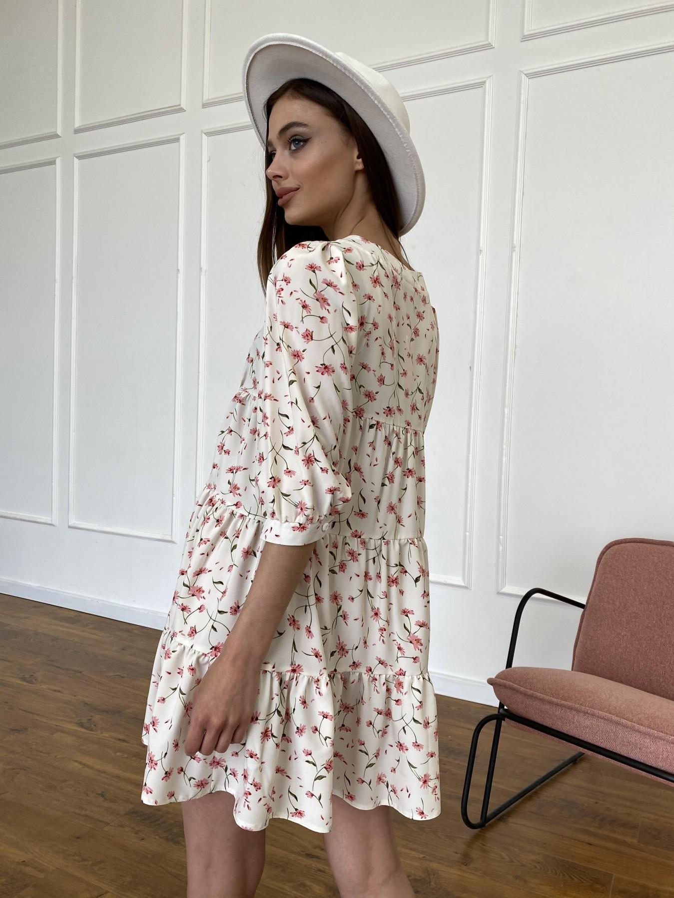 Берри платье из ткани софт в принт 11211 АРТ. 47724 Цвет: Молоко/розовый, Цветы - фото 8, интернет магазин tm-modus.ru