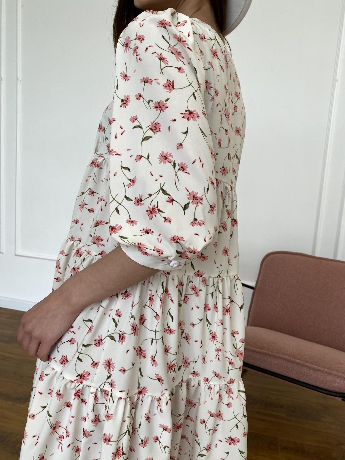 Берри платье из ткани софт в принт 11211 АРТ. 47724 Цвет: Молоко/розовый, Цветы - фото 9, интернет магазин tm-modus.ru