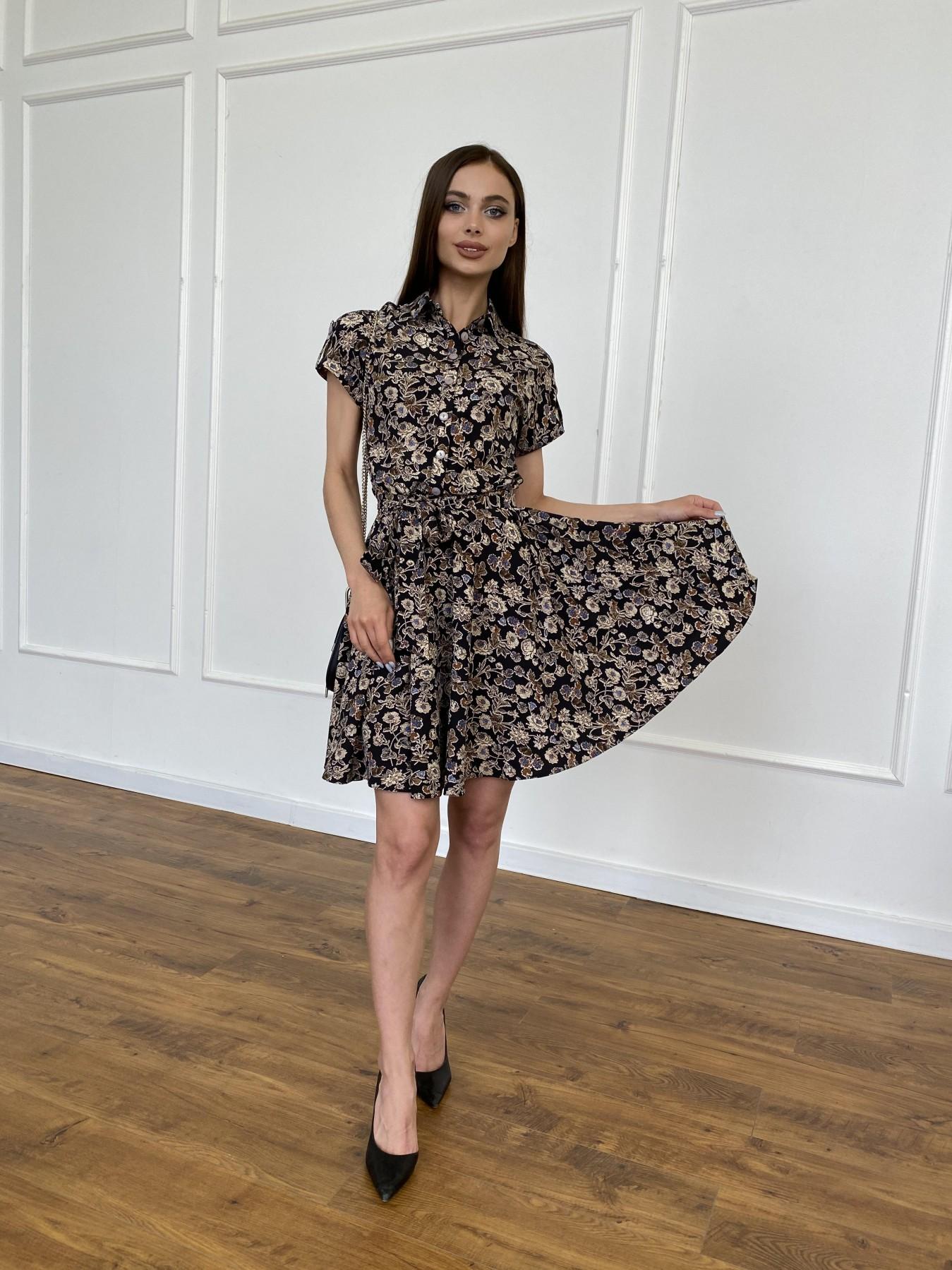 Санжар платье из ткани софт в принт 11215 АРТ. 47726 Цвет: Черный/т. беж, Цветы - фото 1, интернет магазин tm-modus.ru