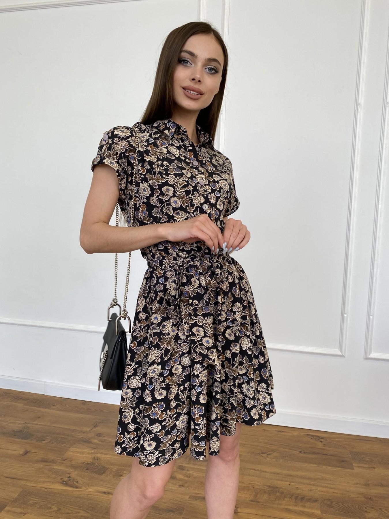 Санжар платье из ткани софт в принт 11215 АРТ. 47726 Цвет: Черный/т. беж, Цветы - фото 2, интернет магазин tm-modus.ru