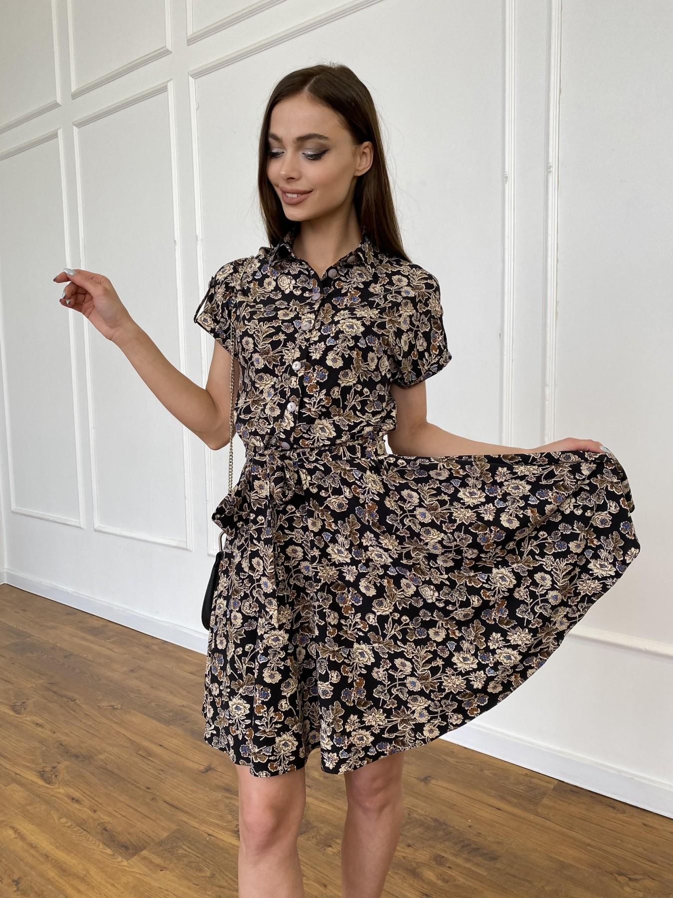 Санжар платье из ткани софт в принт 11215 АРТ. 47726 Цвет: Черный/т. беж, Цветы - фото 3, интернет магазин tm-modus.ru